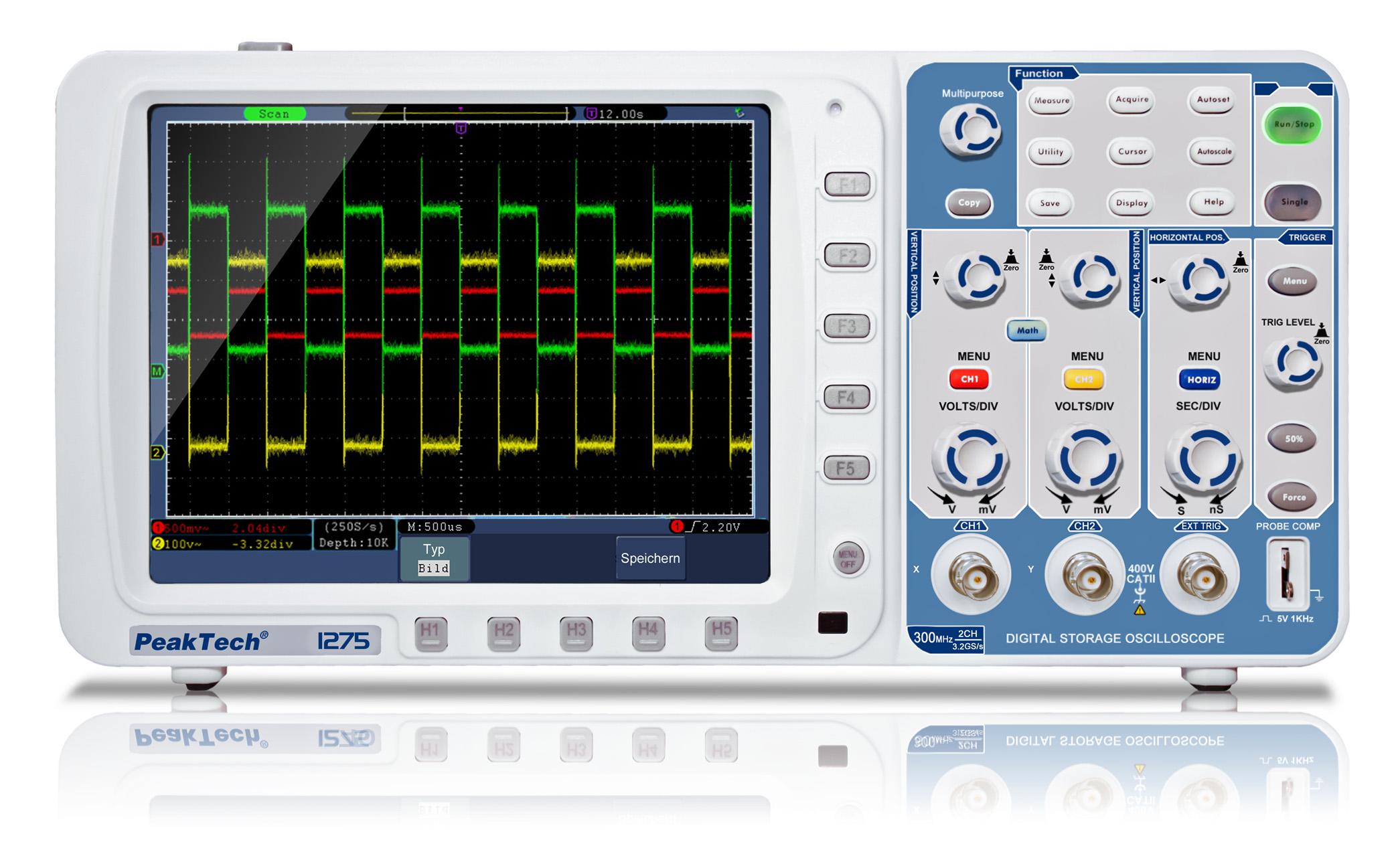«PeakTech® P 1275» 300 MHz/2CH, 3,2 GS/s Digital Storage Oscilloscope