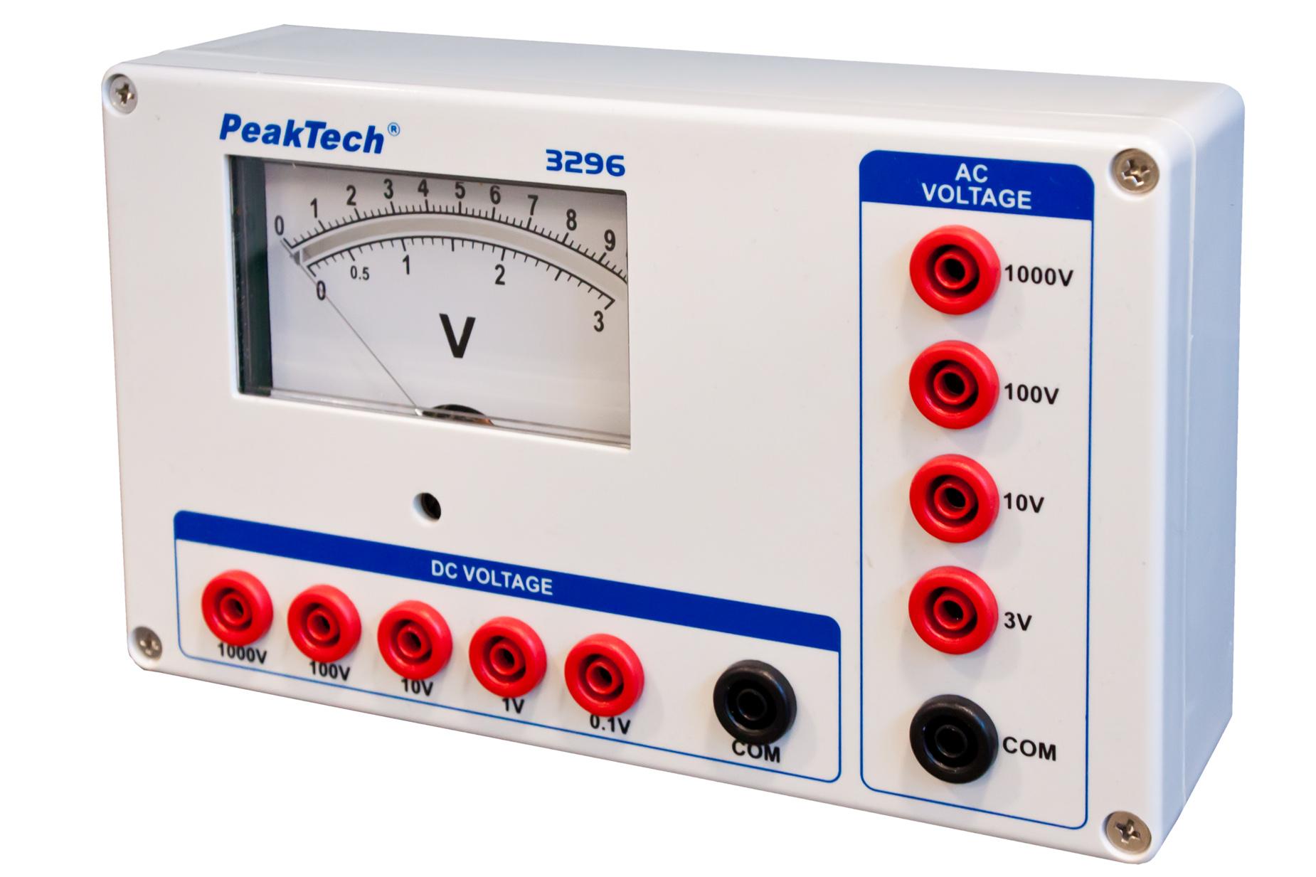 «PeakTech® P 3296» Analog voltmeter, 0 ... 0.1/1/10/100 / 1000V AC/DC