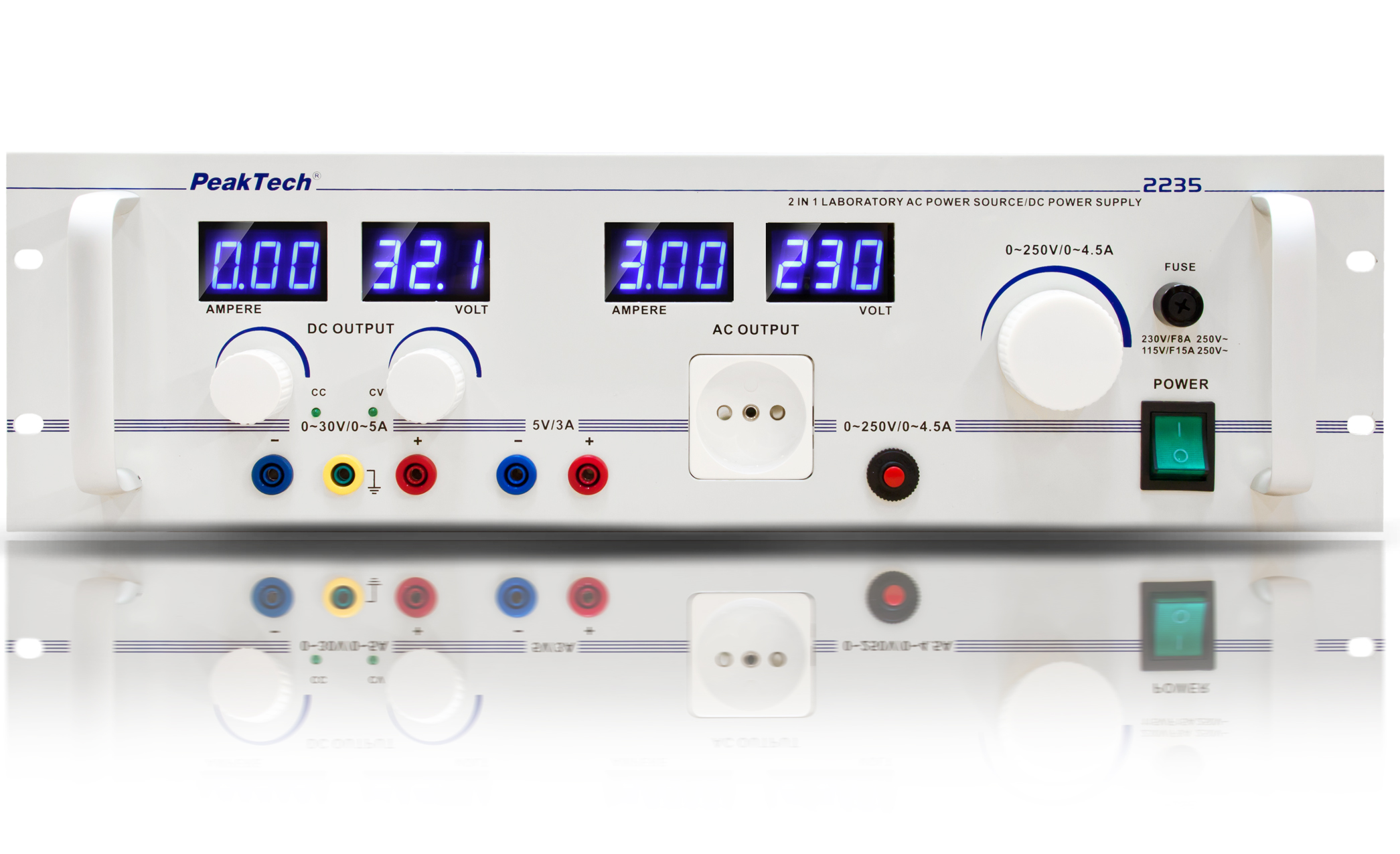«PeakTech® P 2235» Control isolating transformer, 1000 W, 0-30 V/5 A