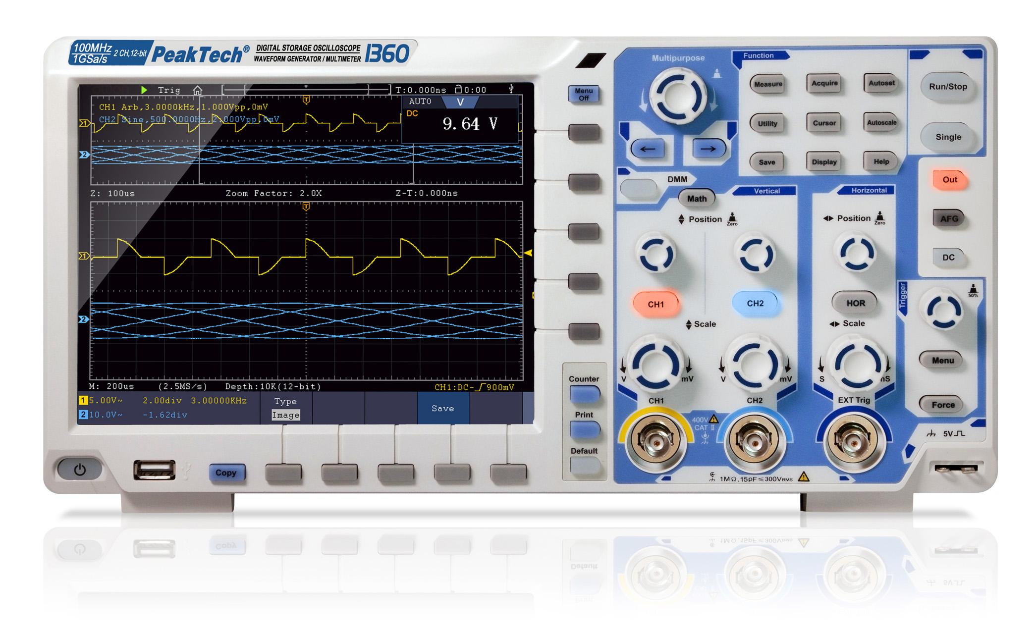 «PeakTech® P 1360» 100 MHz / 2 CH, 1 GS/s touchscreen oscilloscope