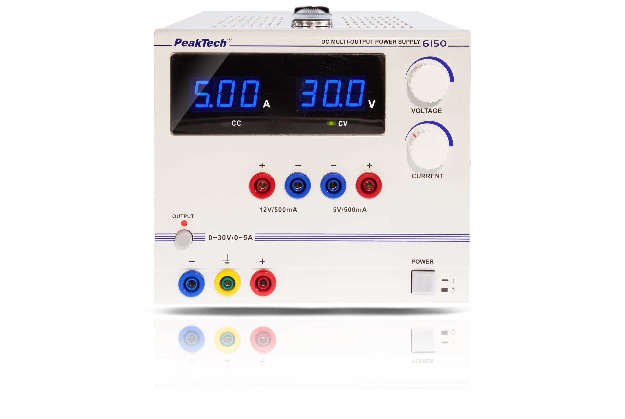 «PeakTech® P 6150» Power supply with fixed / adjustable outputs