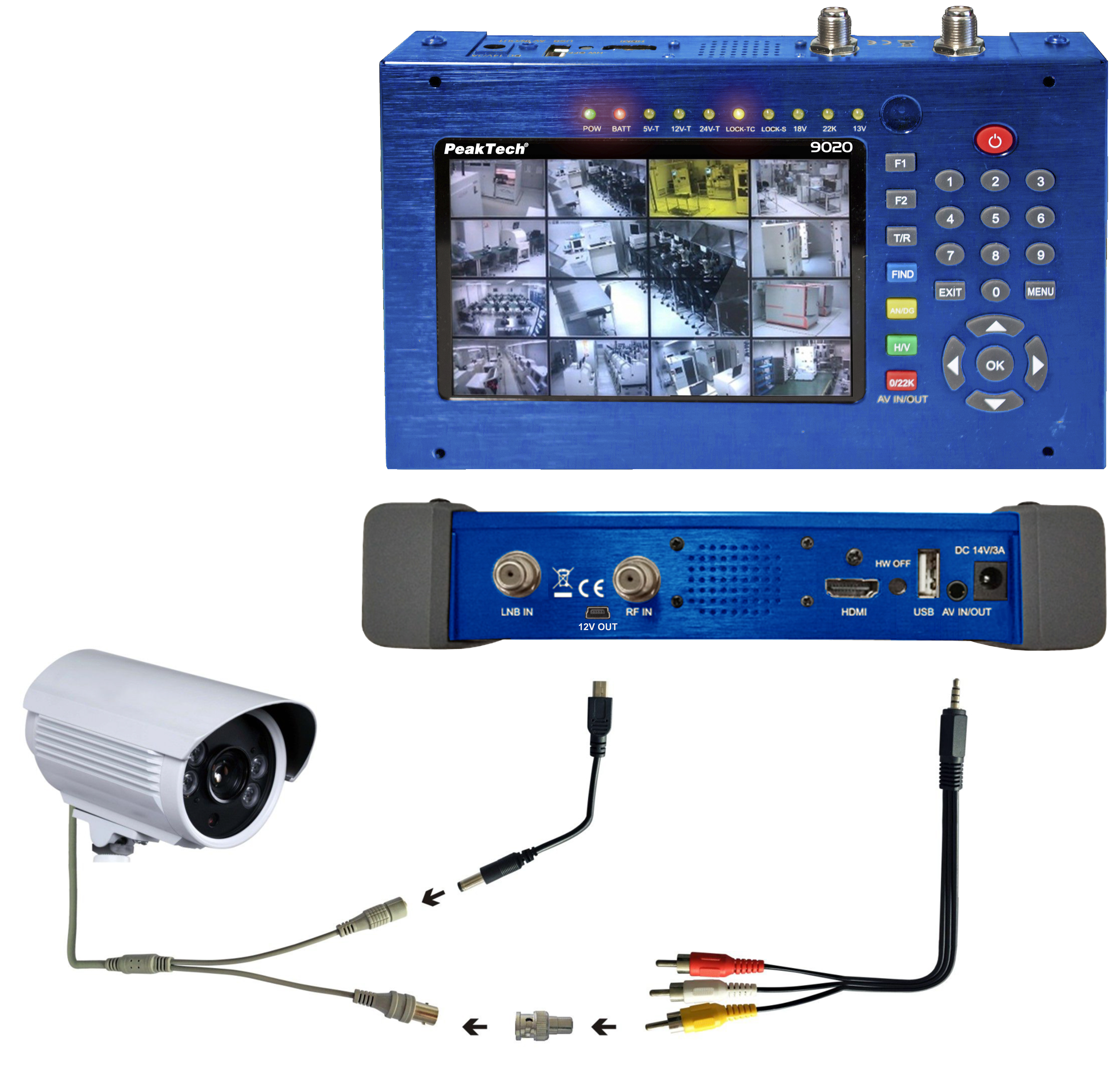 """«PeakTech® P 9020» DVB-C/S2/T2 Meter with 5""""; Display and H.264 Codec"""