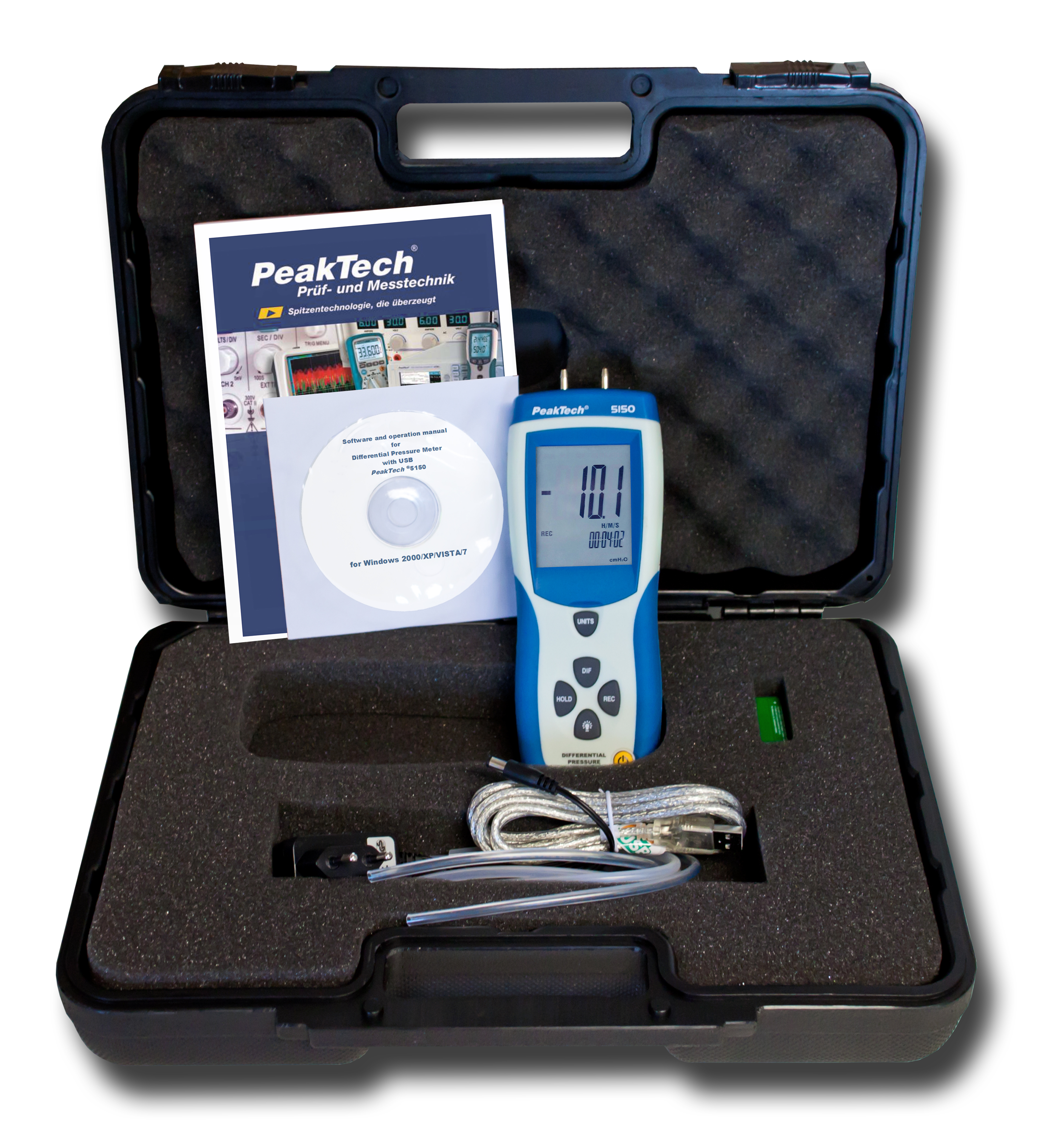 «PeakTech® P 5150» Differential Pressure Meter with USB