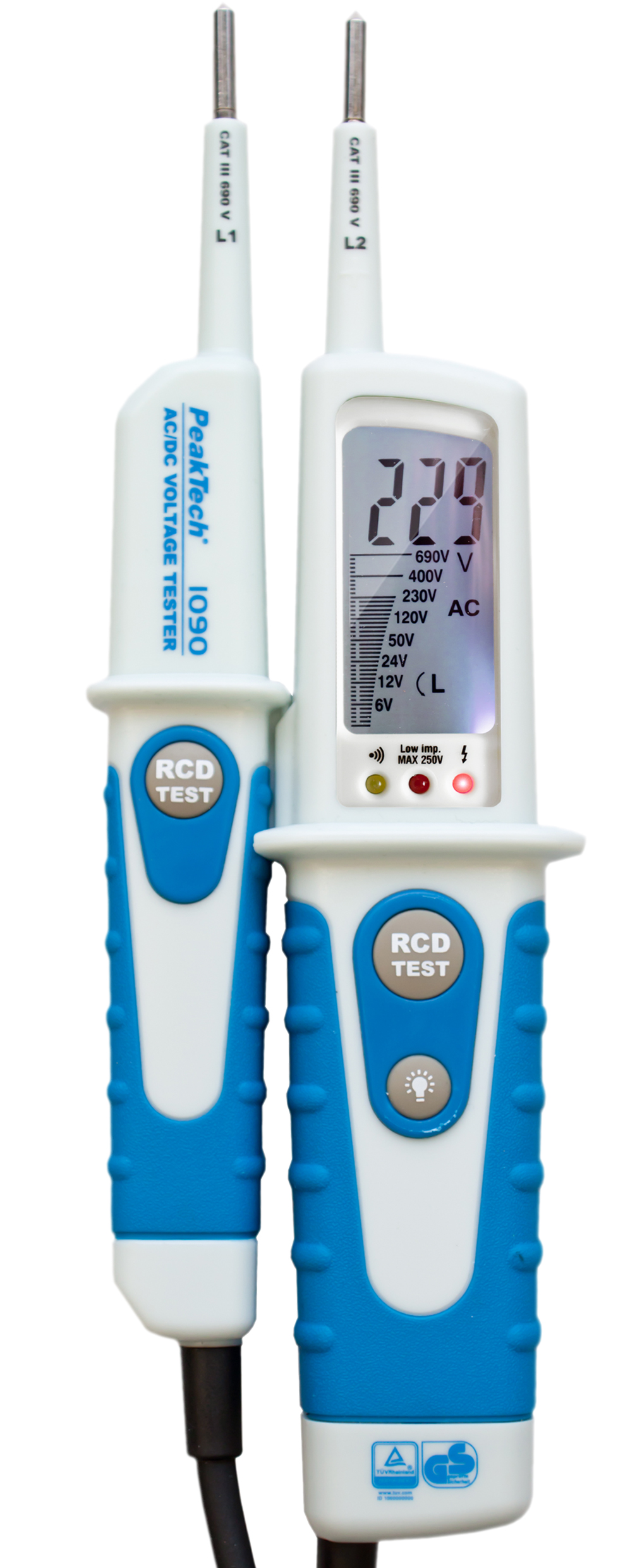 «PeakTech® P 1090» AC/DC Voltage Tester with RCD-Test and LCD-display