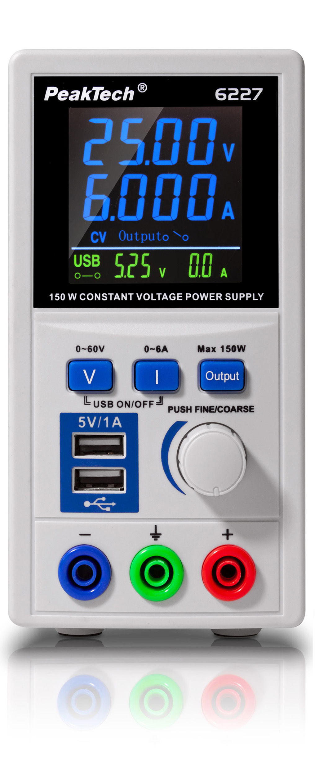 «PeakTech® P 6227» DC power supply 0-60 V / 0-6 A with 2 x USB