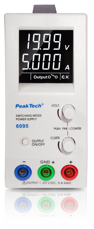 «PeakTech® P 6095» DC Schaltnetzgerät ~ 1 - 20 V / 0 - 5 A
