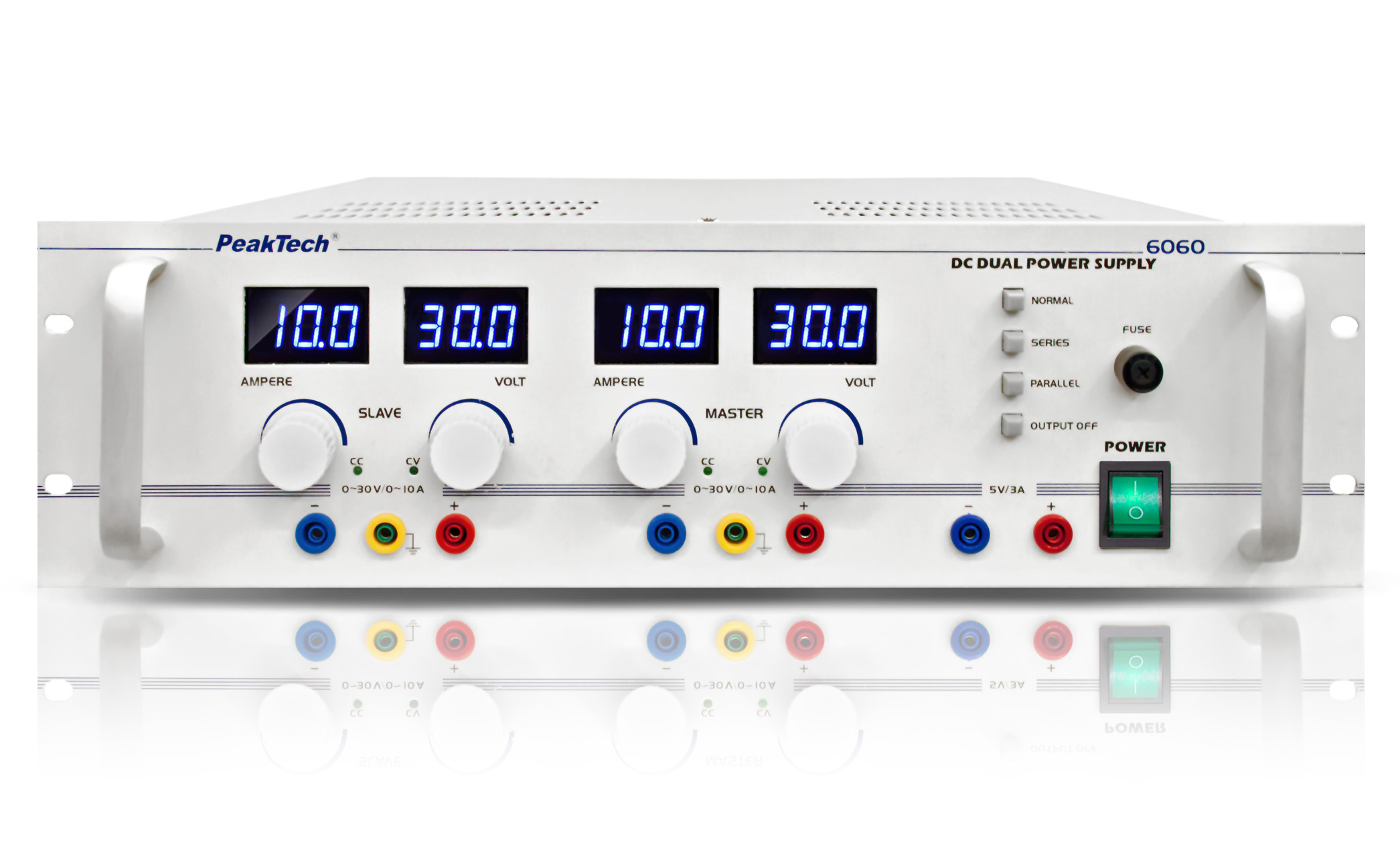«PeakTech® P 6060» Regulated dual power supply with 3 outputs