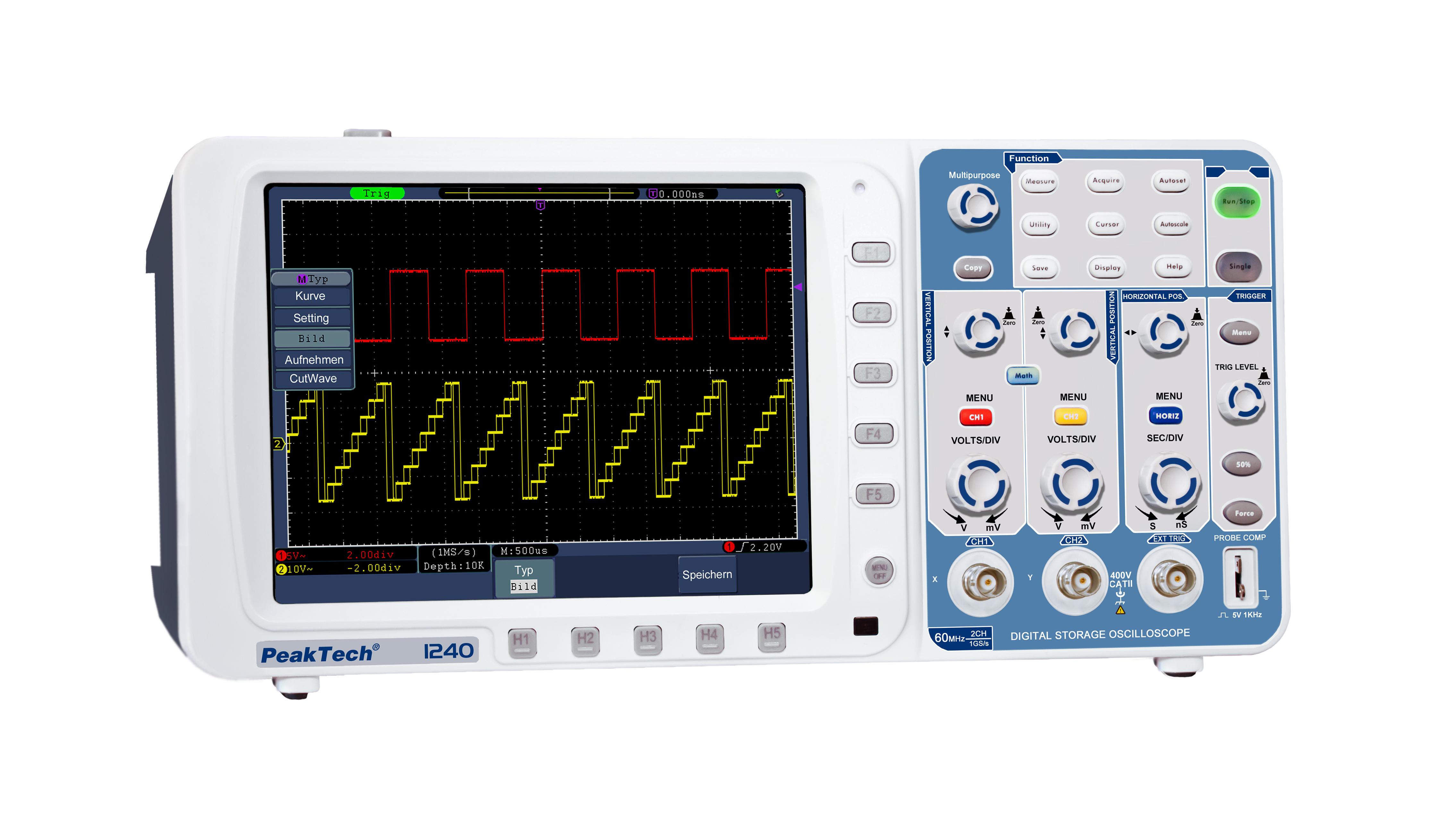 «PeakTech® P 1240» 60 MHz/2CH, 500MSa/s, Digital Storage Oscilloscope