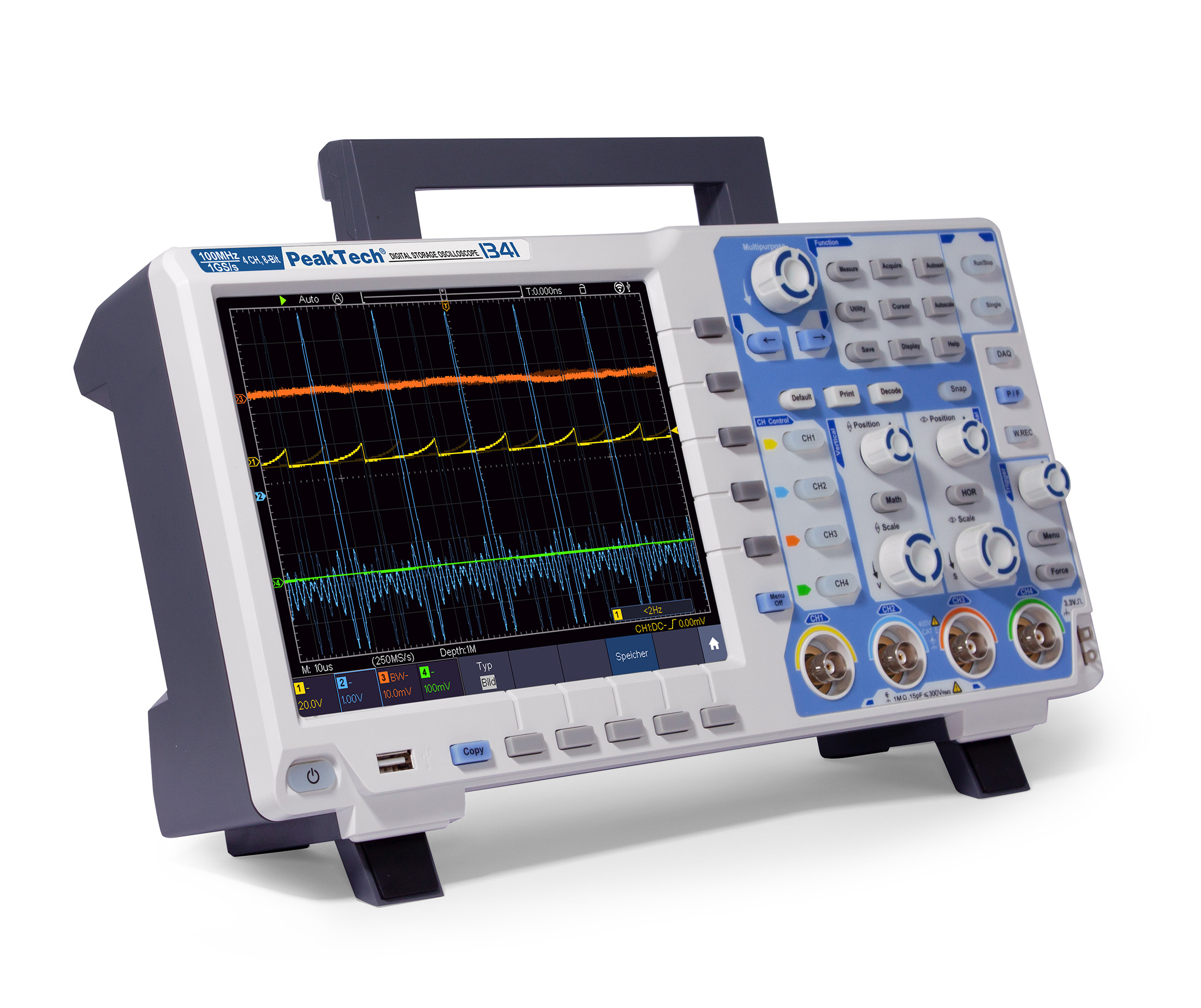 «PeakTech® P 1341» 100 MHz /4 CH, 1 GS/s digital storage oscilloscope