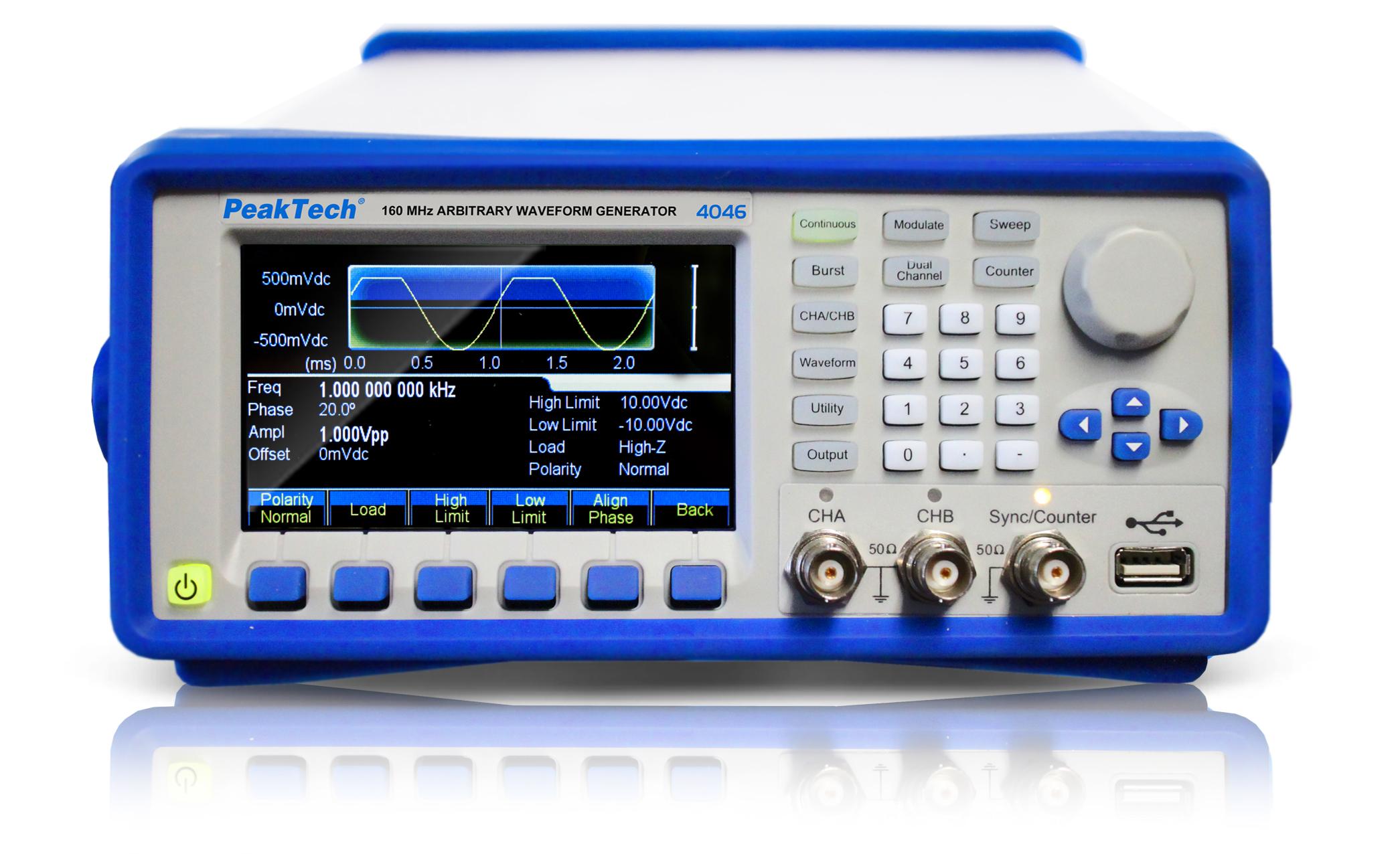 «PeakTech® P 4046» 2CH arbitrary waveform generator, 1 μHz -160 MHz