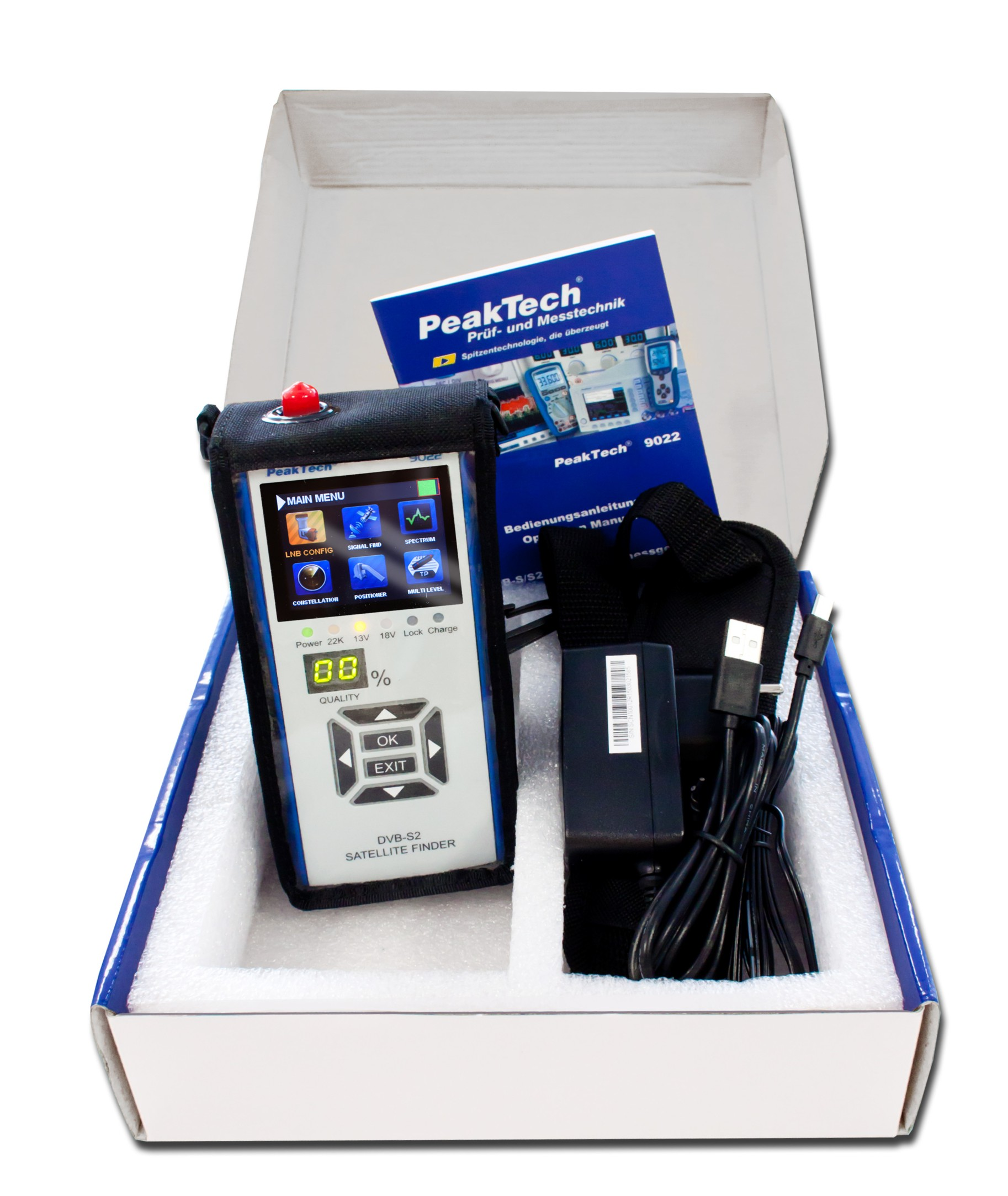 """«PeakTech® P 9022» DVB - S / S2 ~ measuring device for TV systems ~ with 2.4 """"TFT display"""