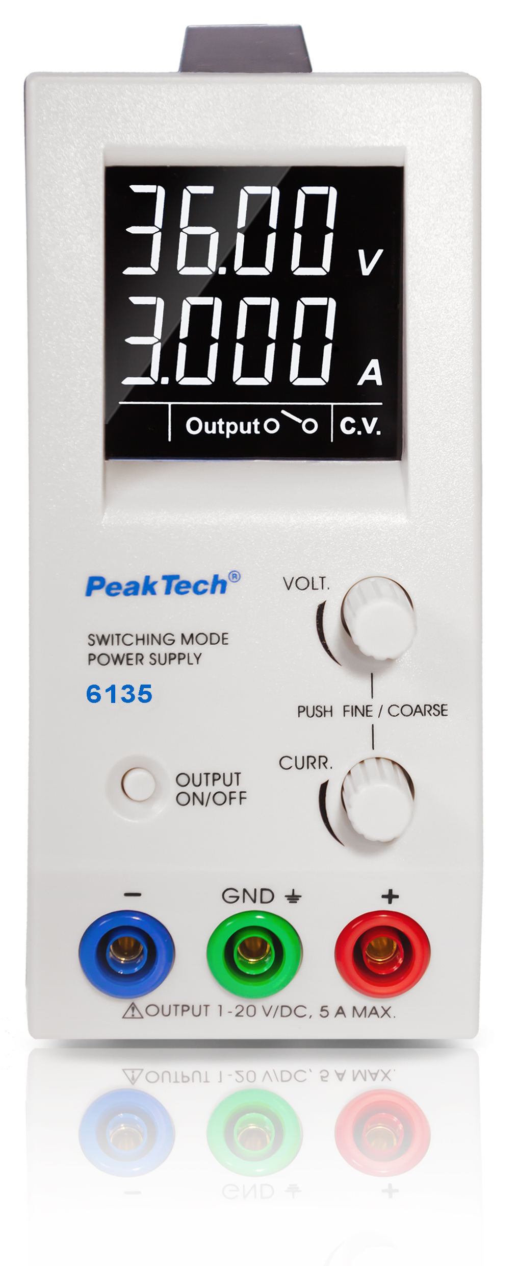 «PeakTech® P 6135» DC switching power supply ~ 1 - 36 V / 0 - 3 A