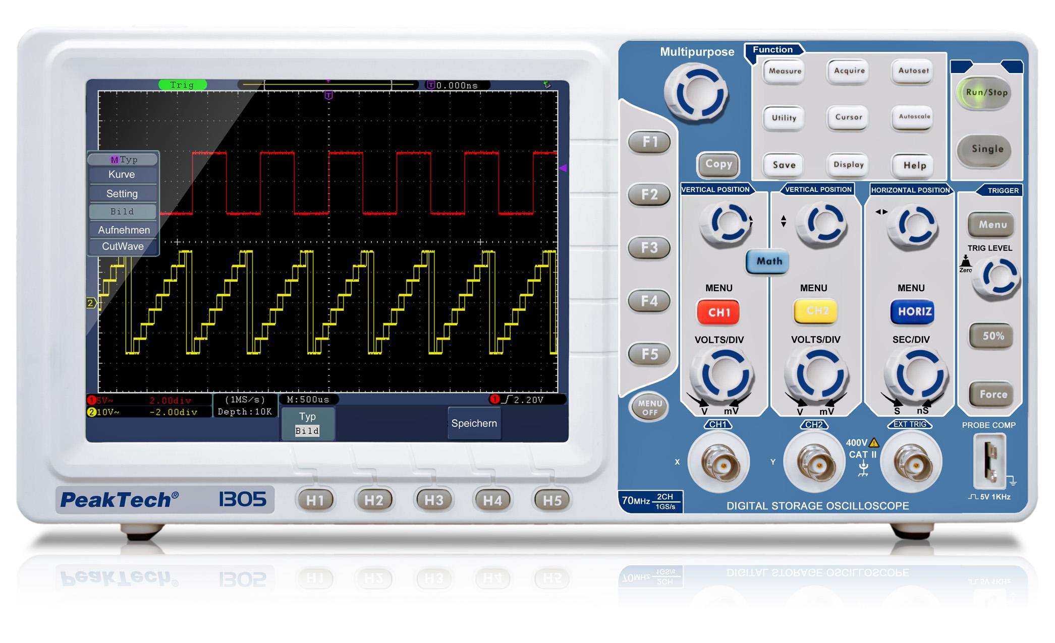 «PeakTech® P 1305» 70 MHz / 2 CH, 1 GS/s digital storage oscilloscope