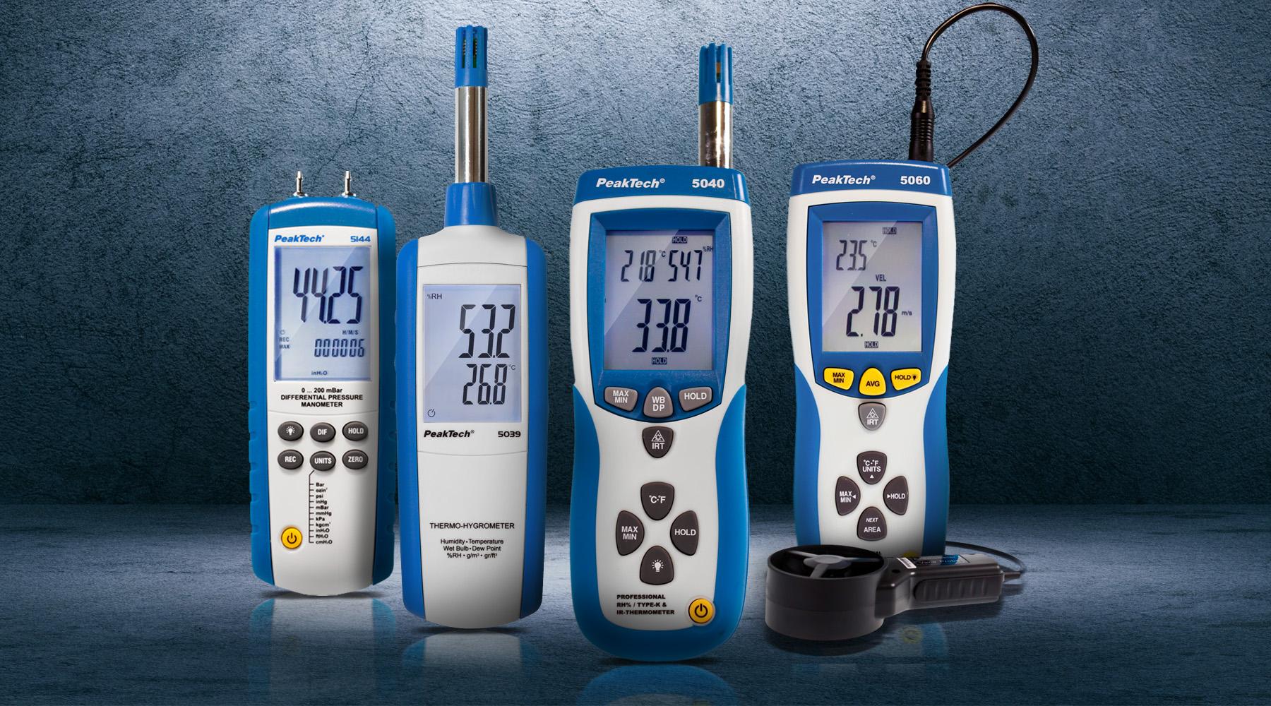 Hygro- & anemometers, pressure gauges