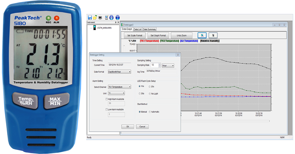 «PeakTech® P 5180» USB-Datalogger K-Type, Air Temperature / Humidity