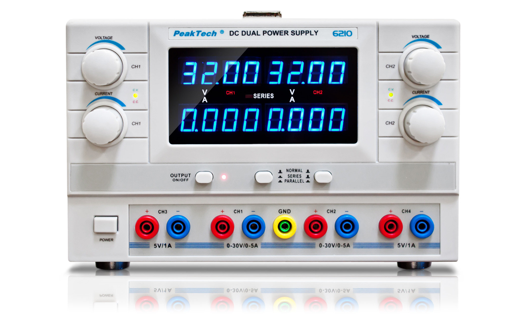 «PeakTech® P 6210» Digital Power Supply with 4 voltage outputs
