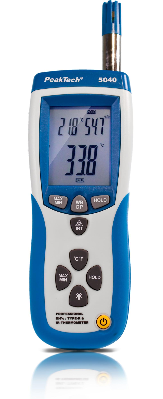 «PeakTech® P 5040» IR Thermo-Hygrometer ~ -50 ... +500°C ~ 0 .. 100% RH ~ mit USB-Schnittstelle