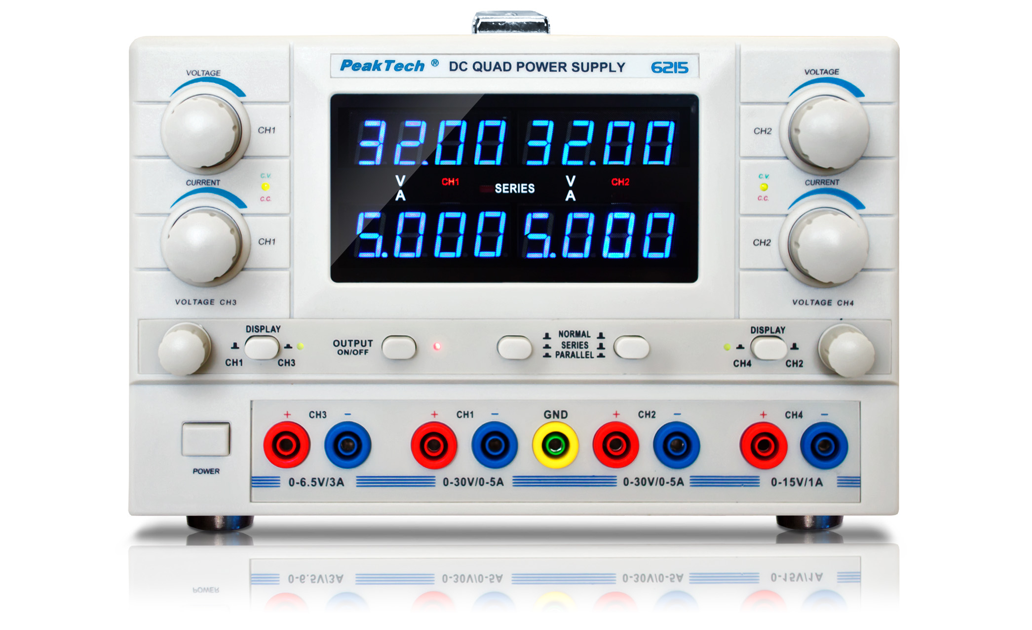 «PeakTech® P 6215» Digital power supply with 4 variable outputs