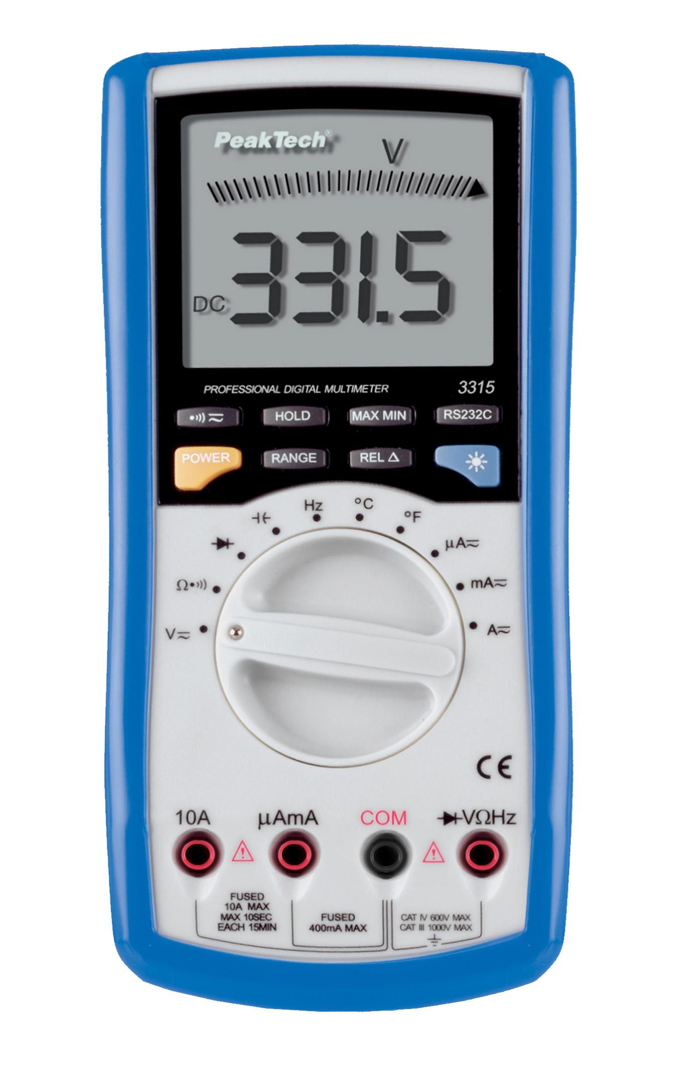 «PeakTech® P 3315» Digitalmultimeter ~ 4.000 Counts ~ 600V AC/DC ~ 10A AC/DC mit USB / RS-232