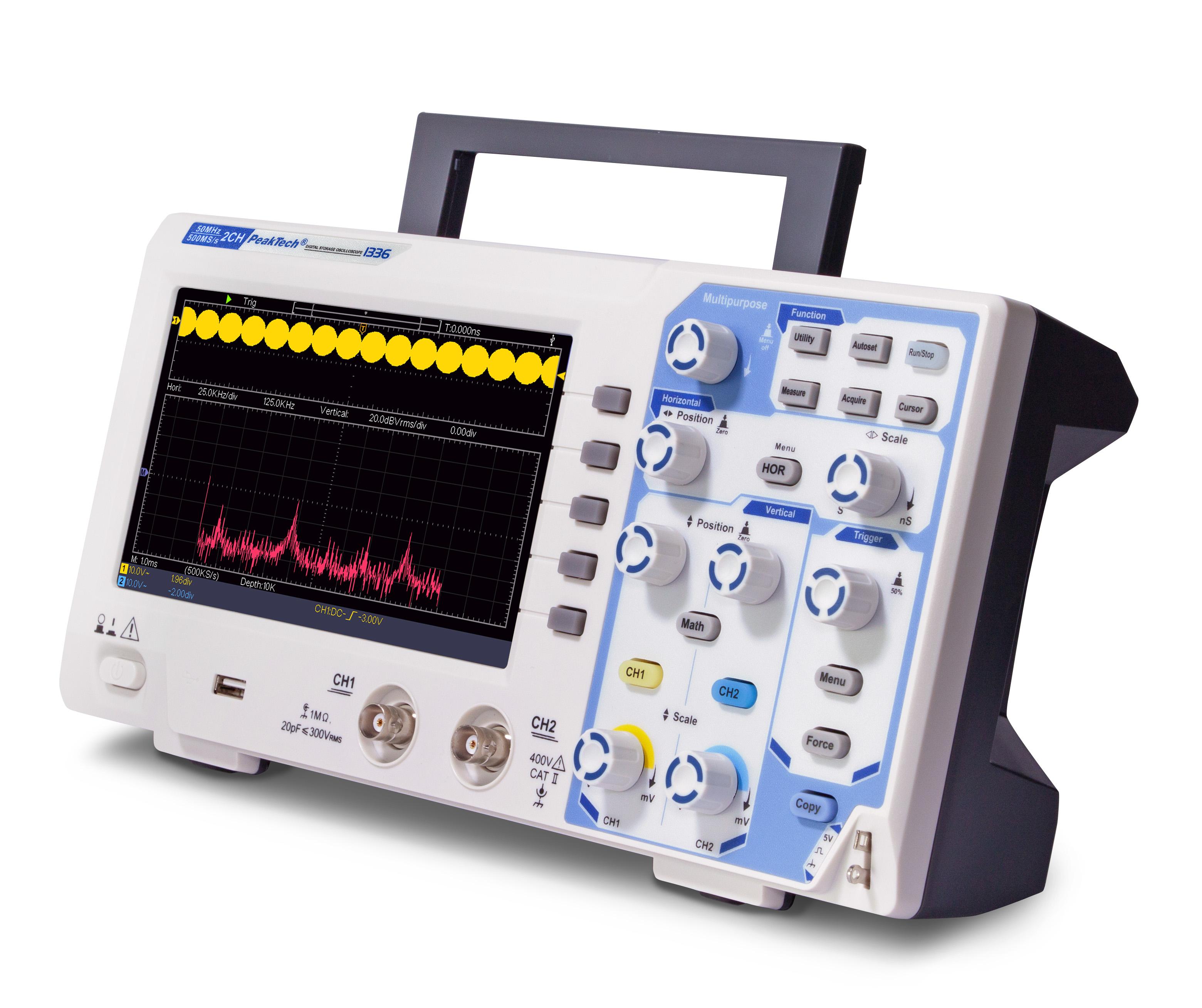 «PeakTech® P 1336» 50 MHz/2 CH, 500 MS/s digital storage oscilloscope