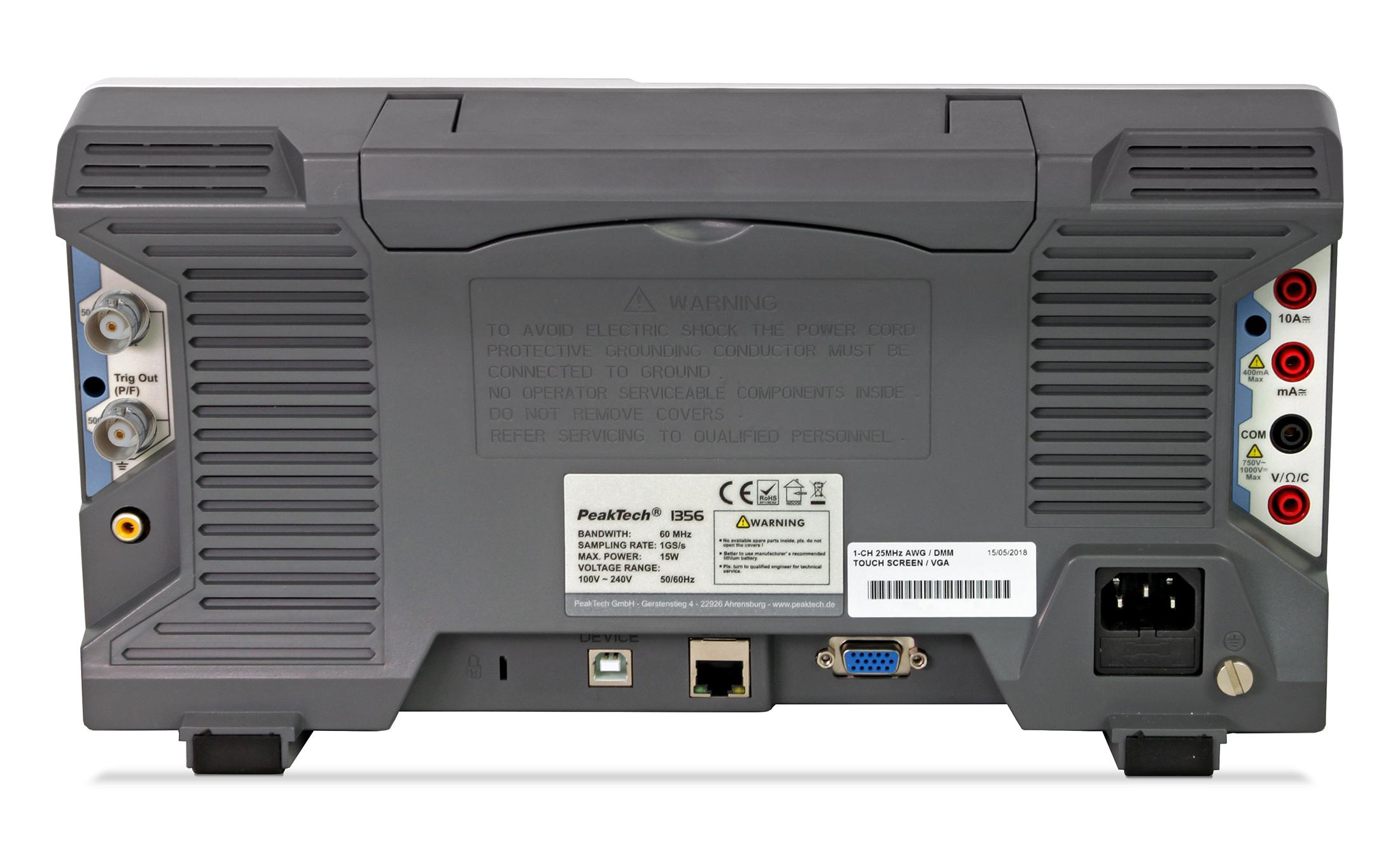 «PeakTech® P 1362» 200 MHz / 2 CH, 2 GS/s touchscreen oscilloscope