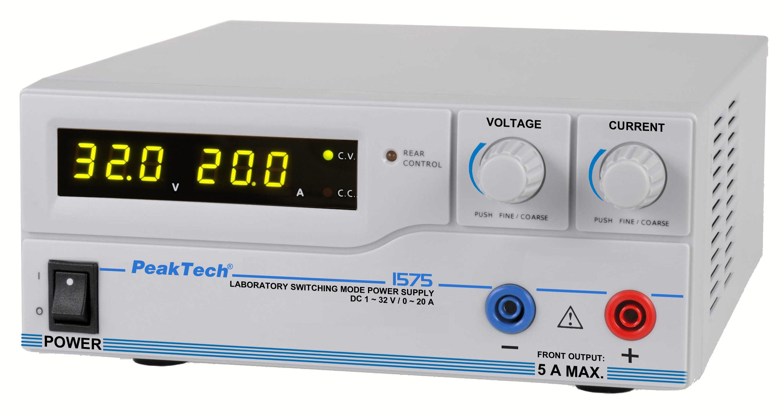 «PeakTech® P 1575» Laboratory power supply DC 1 - 32V / 0 - 20A & USB