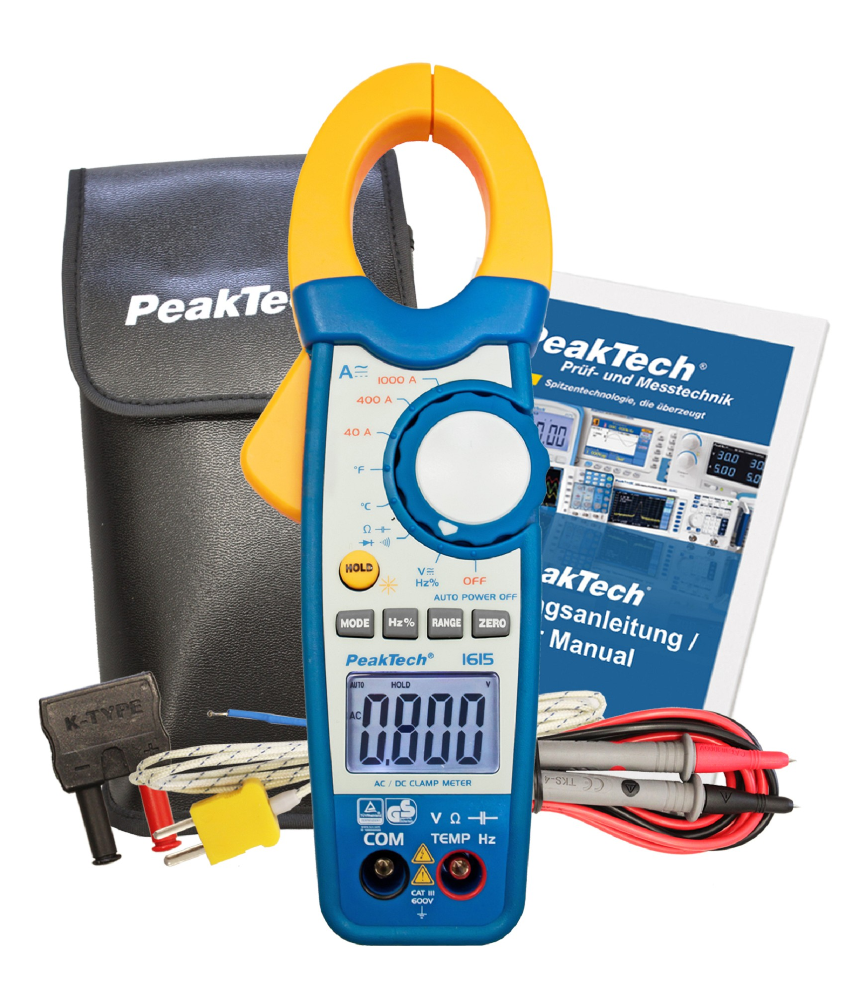 «PeakTech® P 1615» Clamp meter 4,000 counts 1000 A AC/DC