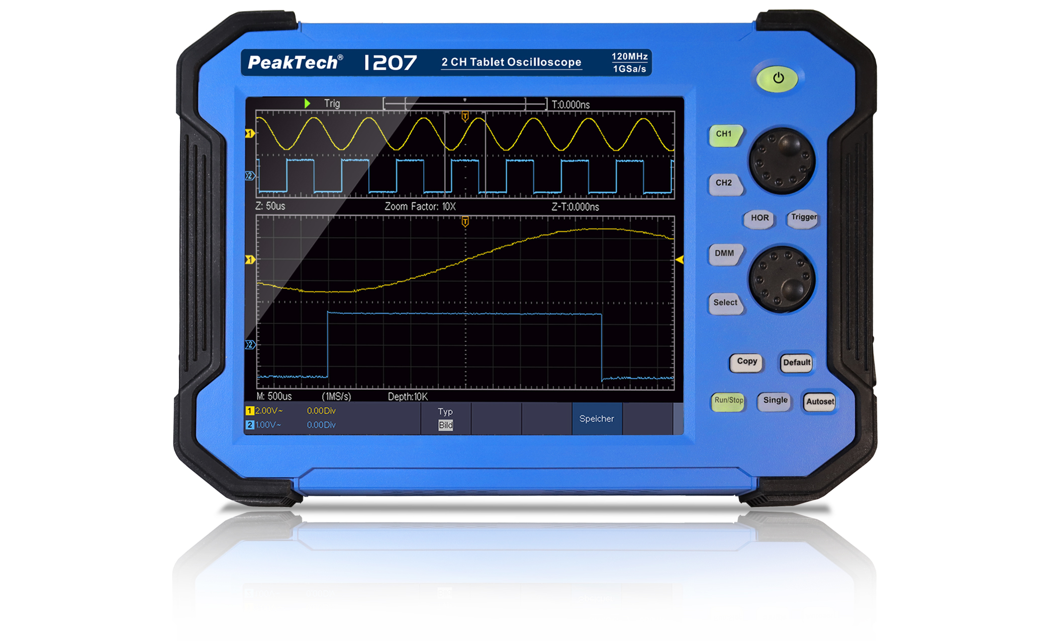 «PeakTech® P 1207» 120 MHz / 2 CH, 1 GS/s tablet oscilloscope