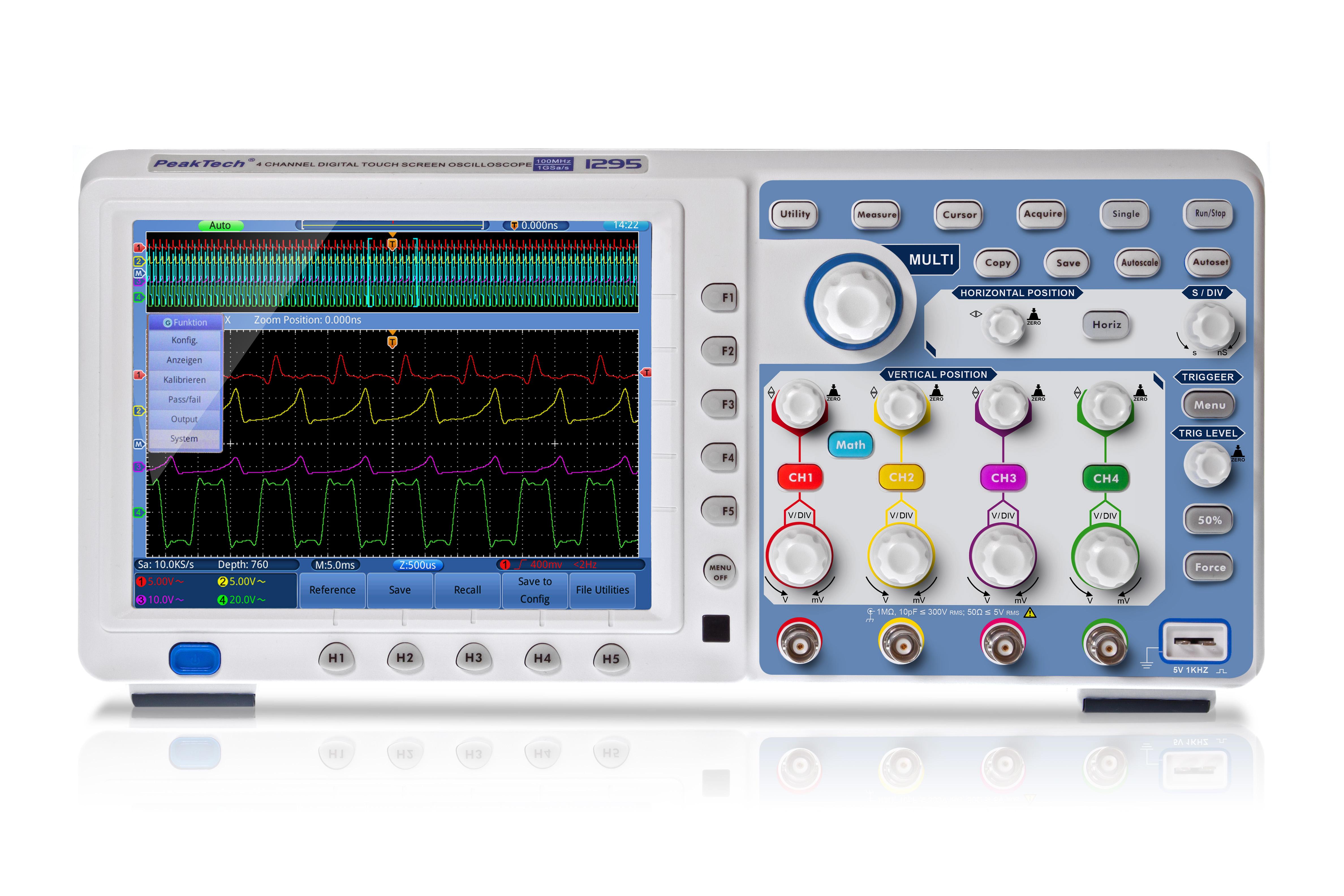 «PeakTech® P 1295» 100 MHz / 4 CH, 1 GS/s touchscreen oscilloscope