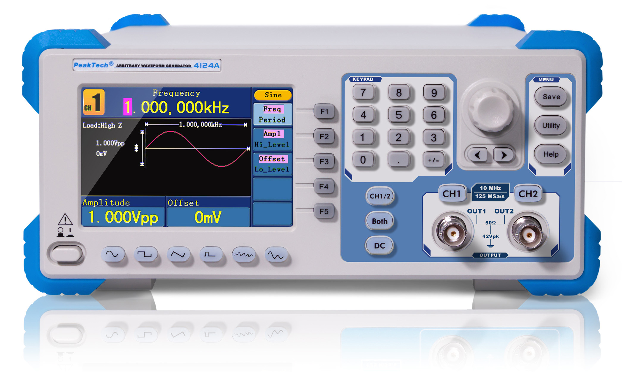 «PeakTech® P 4124» 2CH arbitrary function generator, 1 µHz – 10 MHz, 10W amplifier