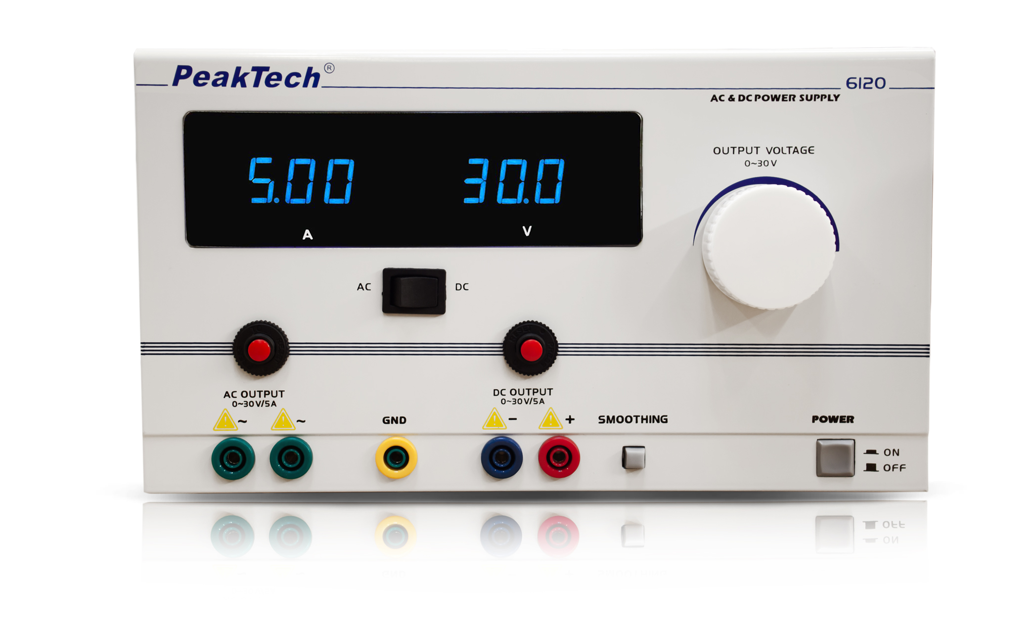 «PeakTech® P 6120» AC/DC Laboratory Power Supply 0 - 30 V/5 A