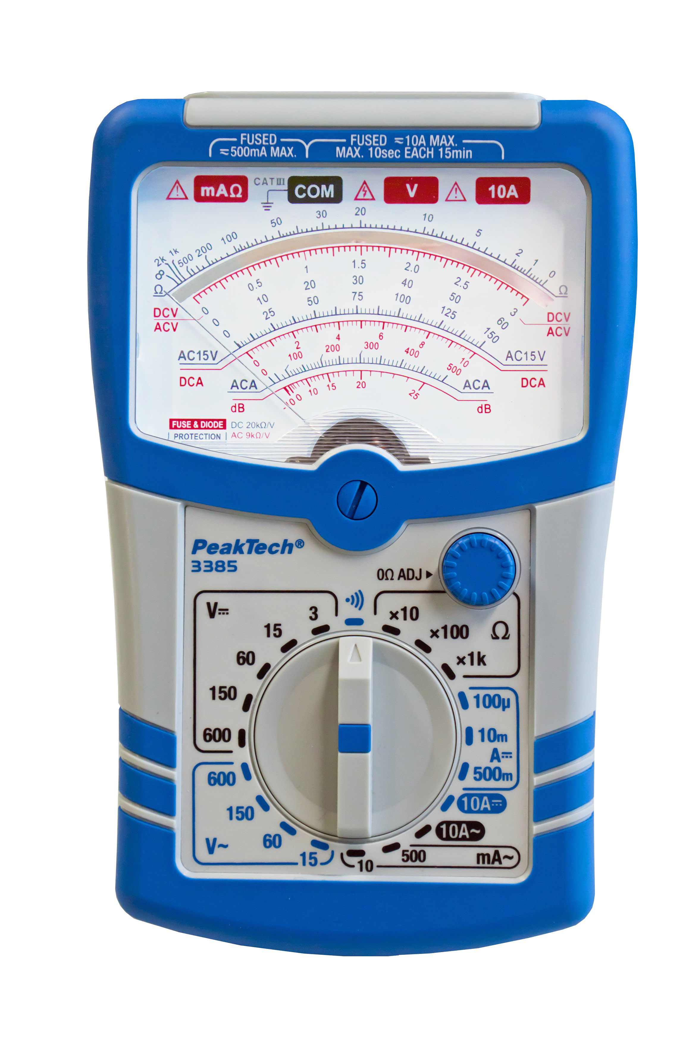 «PeakTech® P 3385» Analog multimeter, 600V AC/DC, 10A AC/DC, CAT III