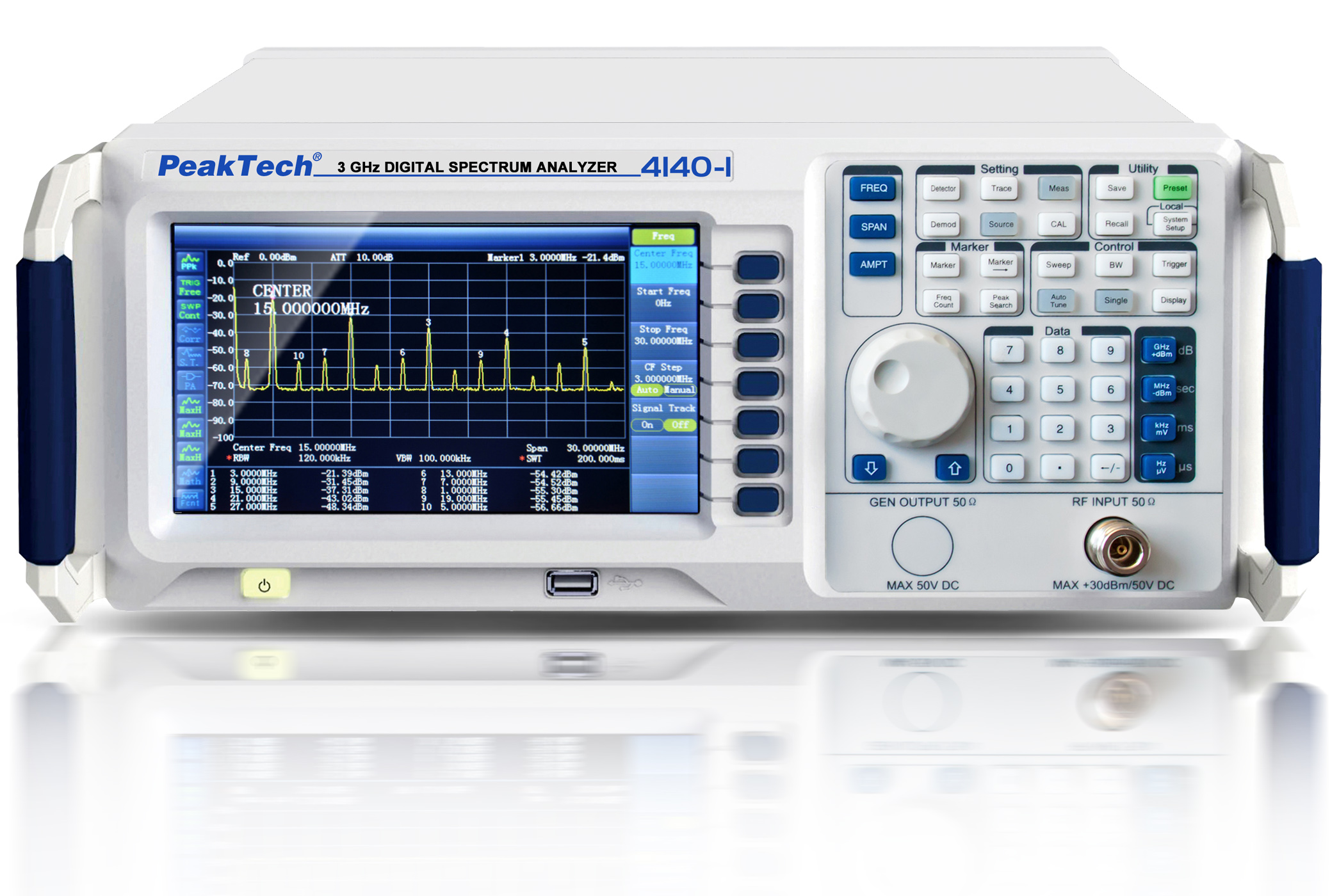 «PeakTech® P 4140-1» 3 GHz Spectrum Analyzer ~ mit TFT-Anzeige, LAN / USB