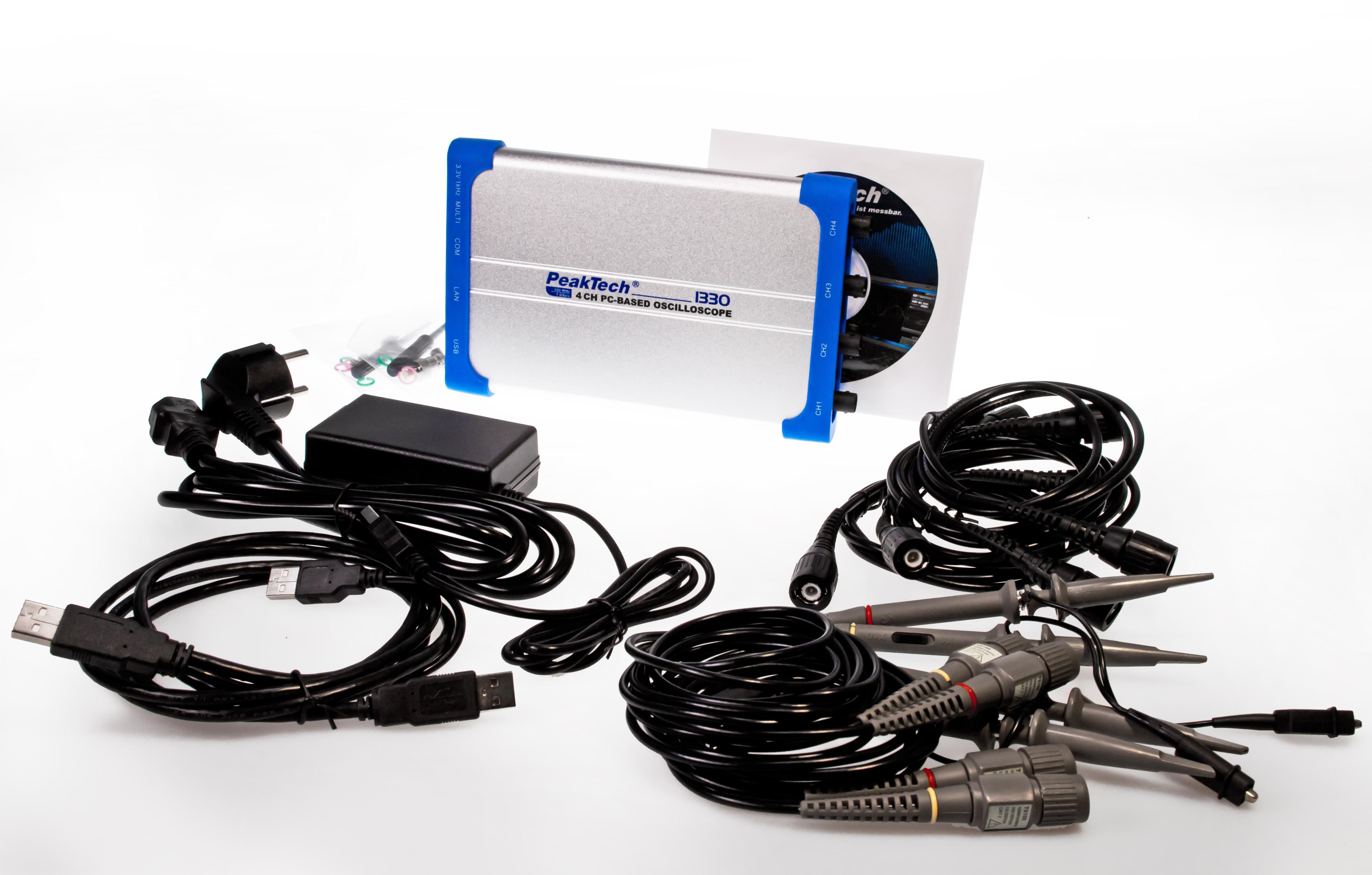 «PeakTech® P 1330» 100 MHz / 4 CH, 1 GS/s PC oscilloscope, USB & LAN