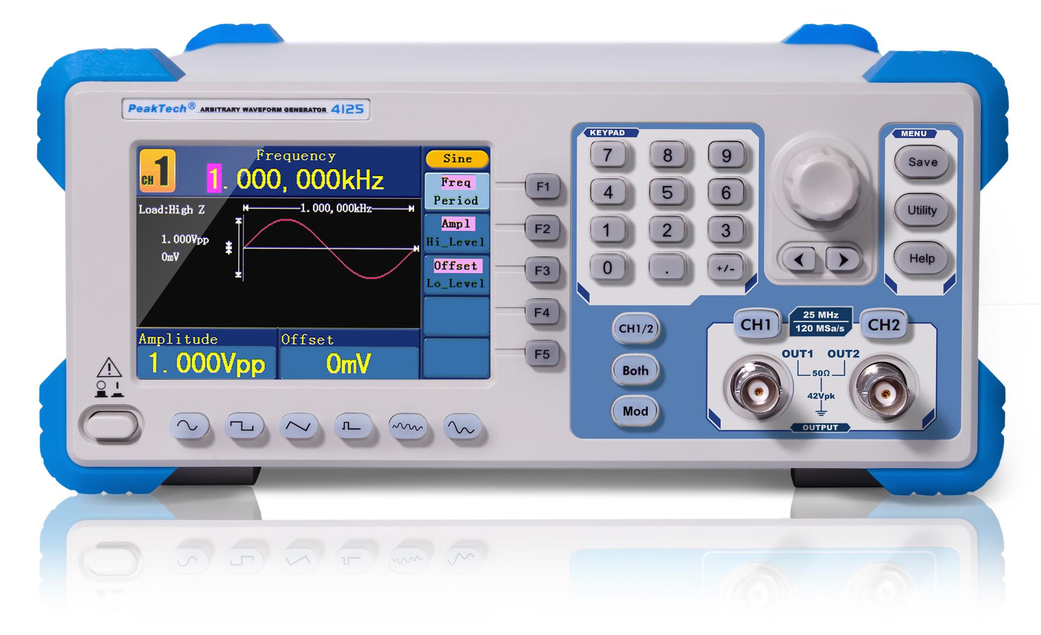 «PeakTech® P 4125» 2CH arbitrary function generator, 1 µHz - 25 MHz