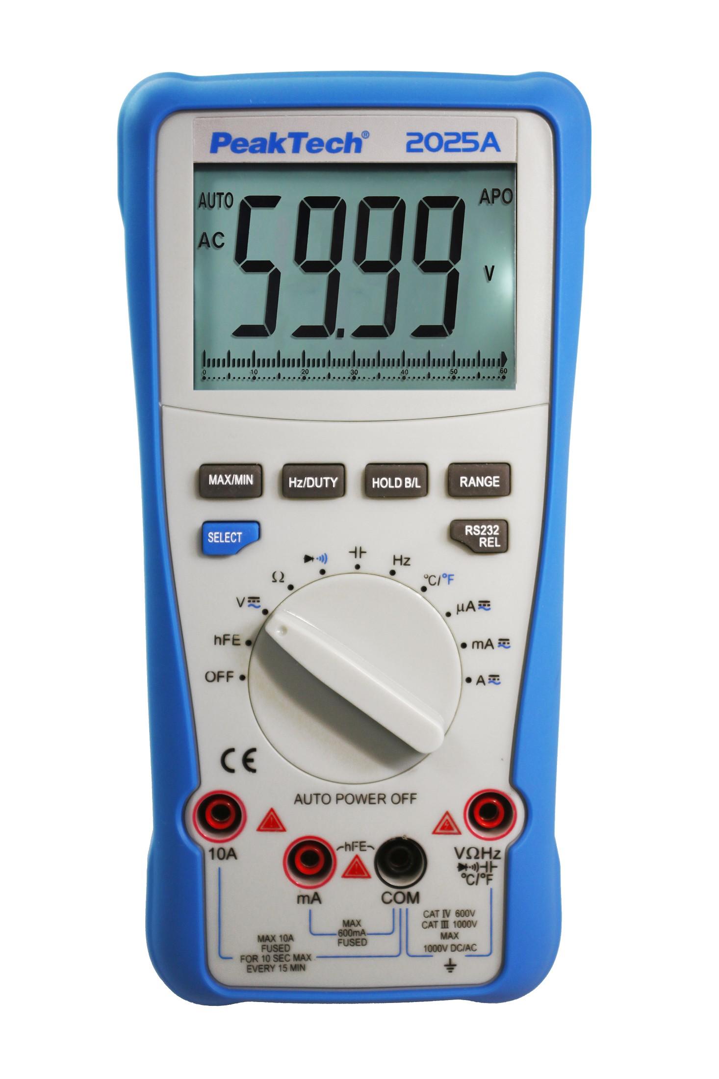 «PeakTech® P 2025 A» True RMS 1000 V digital multimeter 6000 Counts USB