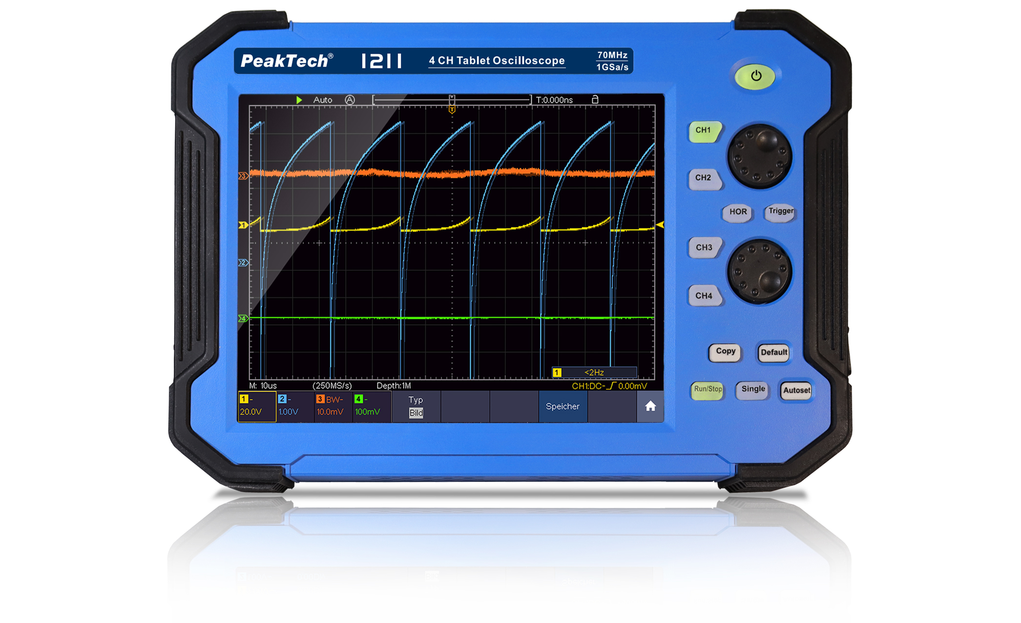 «PeakTech® P 1211» 70 MHz / 4 CH, 1 GS/s tablet oscilloscope