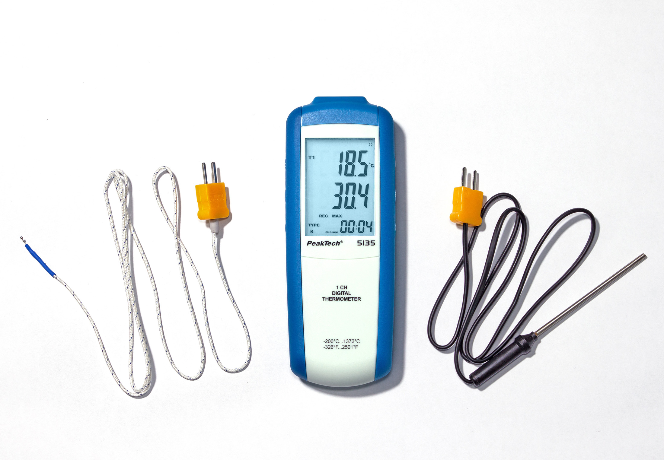 «PeakTech® P 5135» Digital-Thermometer 1 CH, -200...+1372°C