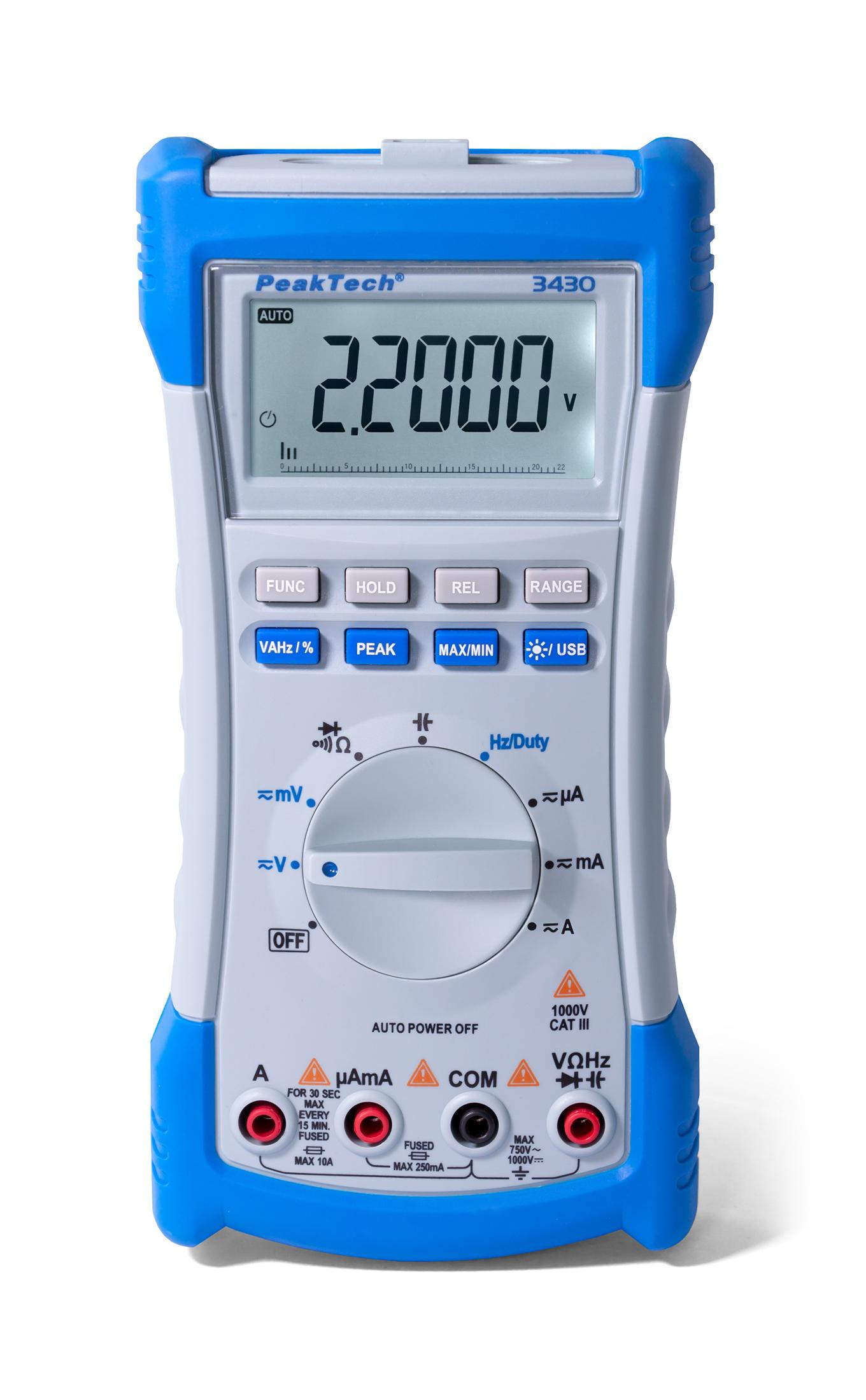 «PeakTech® P 3430» Digital multimeter, 20,000 counts, TrueRMS & USB