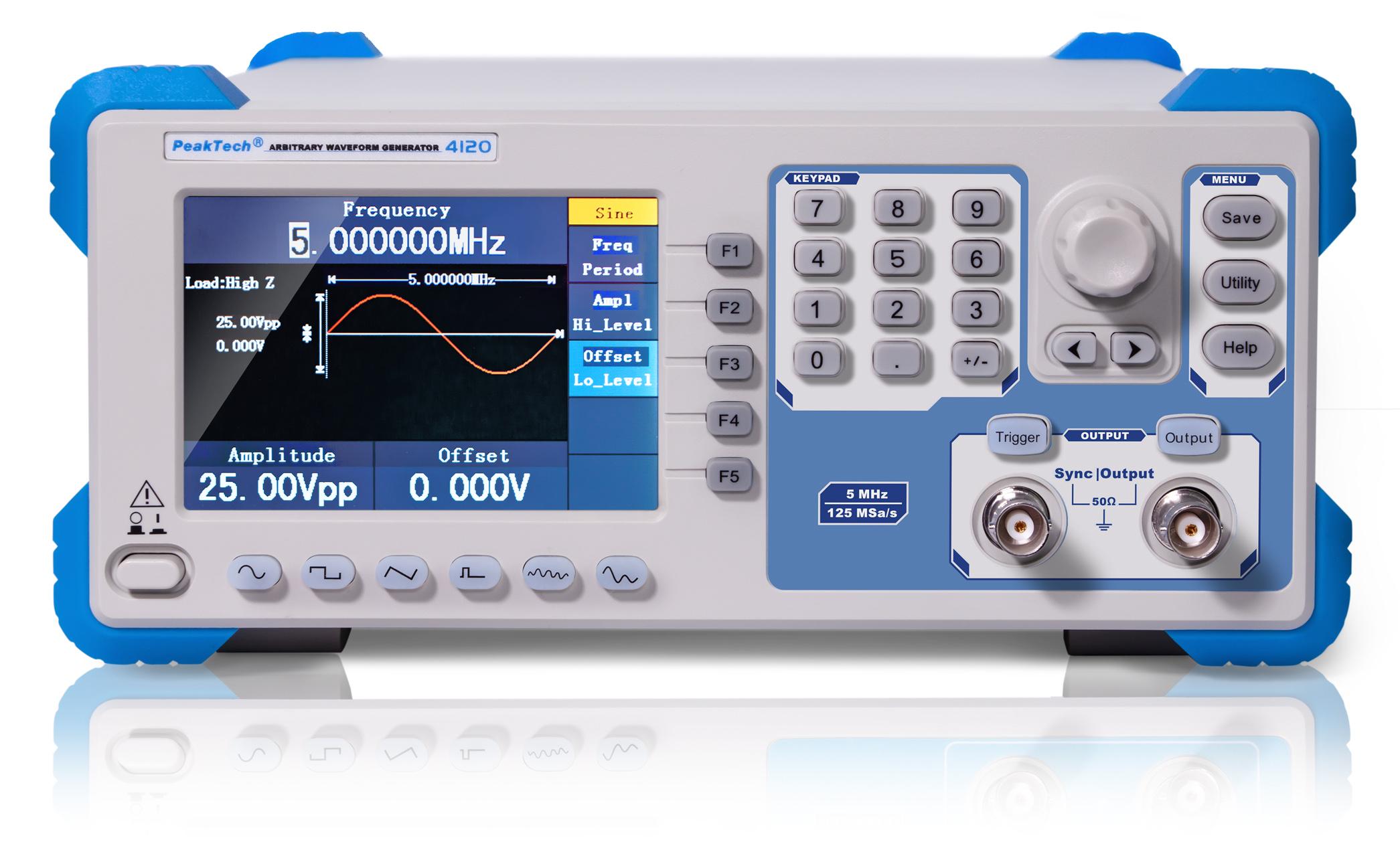 «PeakTech® P 4120» 1CH arbitrary function generator, 1 µHz - 5 MHz