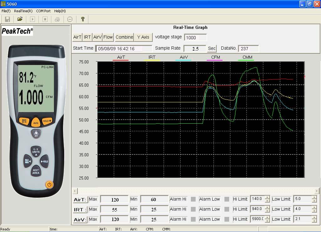 «PeakTech® P 5060» vane anemometer & IR thermometer ~ -50 ... + 500 ° C ~ with USB interface