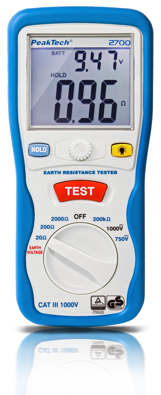 «PeakTech® P 2700» Digital earth tester, 0-2000Ω, CAT III 1000V
