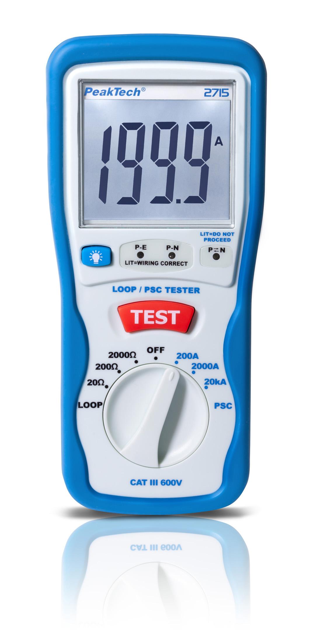 «PeakTech® P 2715» Digital LOOP / PSC loop impedance tester