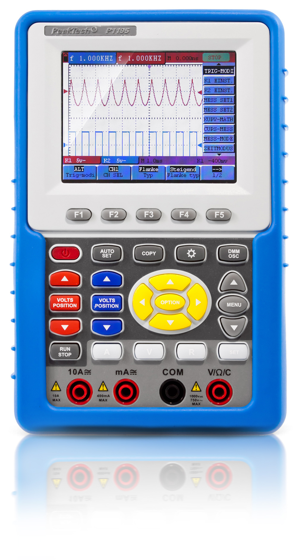 «PeakTech® P 1195» 100 MHz / 2 CH, 1 GS/s handheld oscilloscope