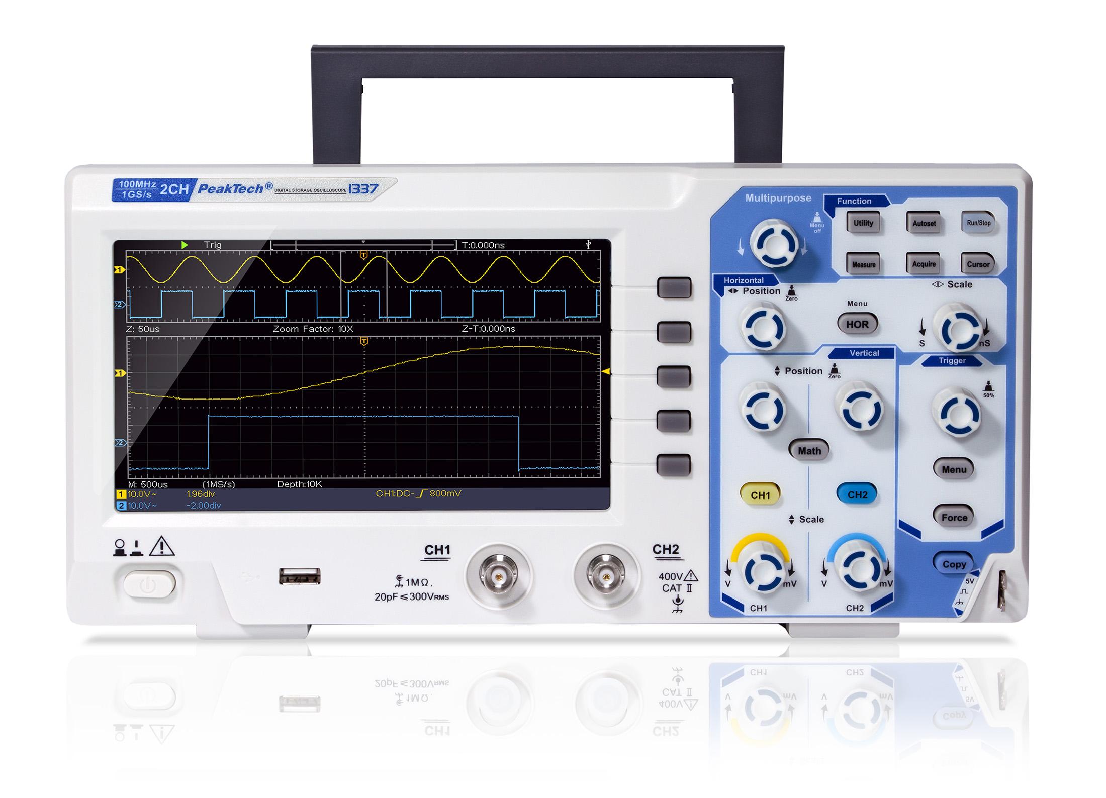 «PeakTech® P 1337» 100 MHz /2 CH, 1 GS/s digital storage oscilloscope