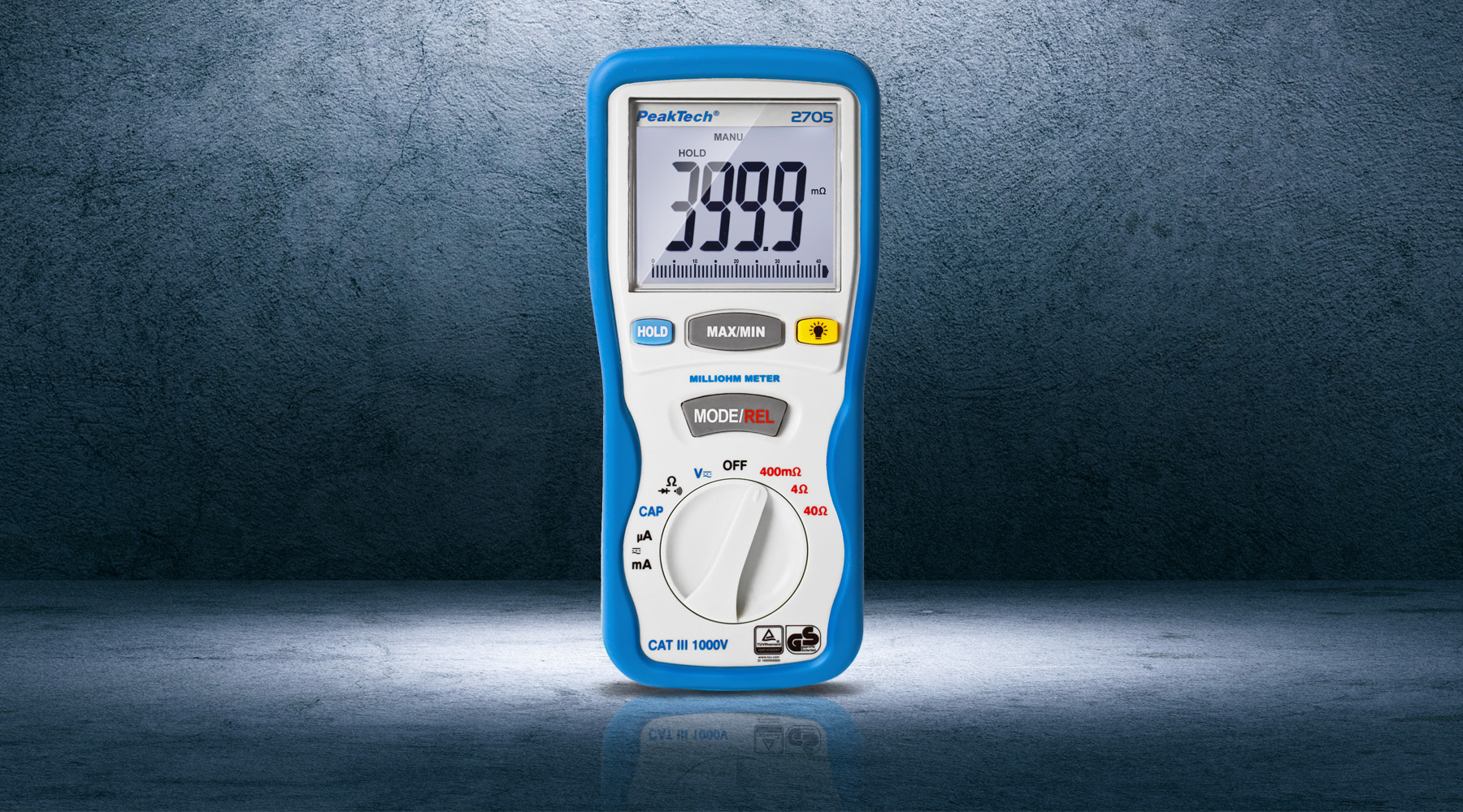 Resistance measuring device according to DIN EN 61557-4 (VDE 0413-4)