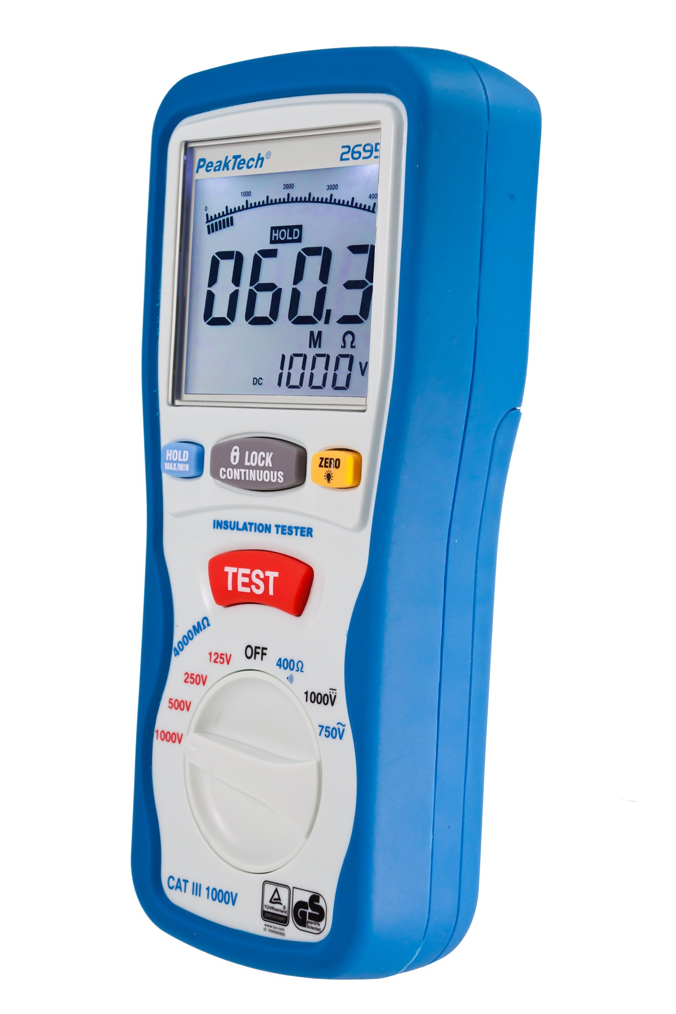 «PeakTech® P 2695» Insulation tester 125/250/500/1000 V /4000 MΩ