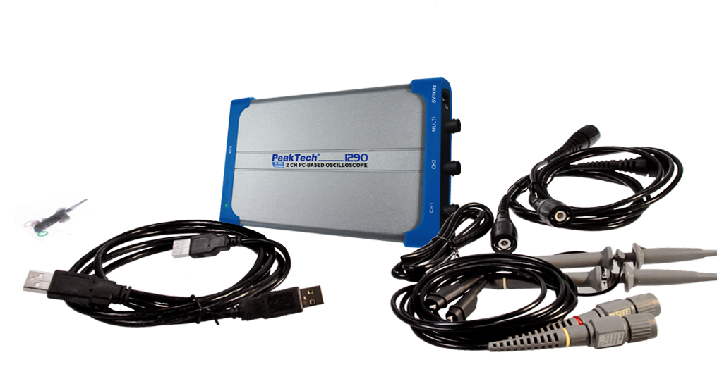 «PeakTech® P 1290» 20 MHz / 1 CH, 100 MS/s PC oscilloscope with USB