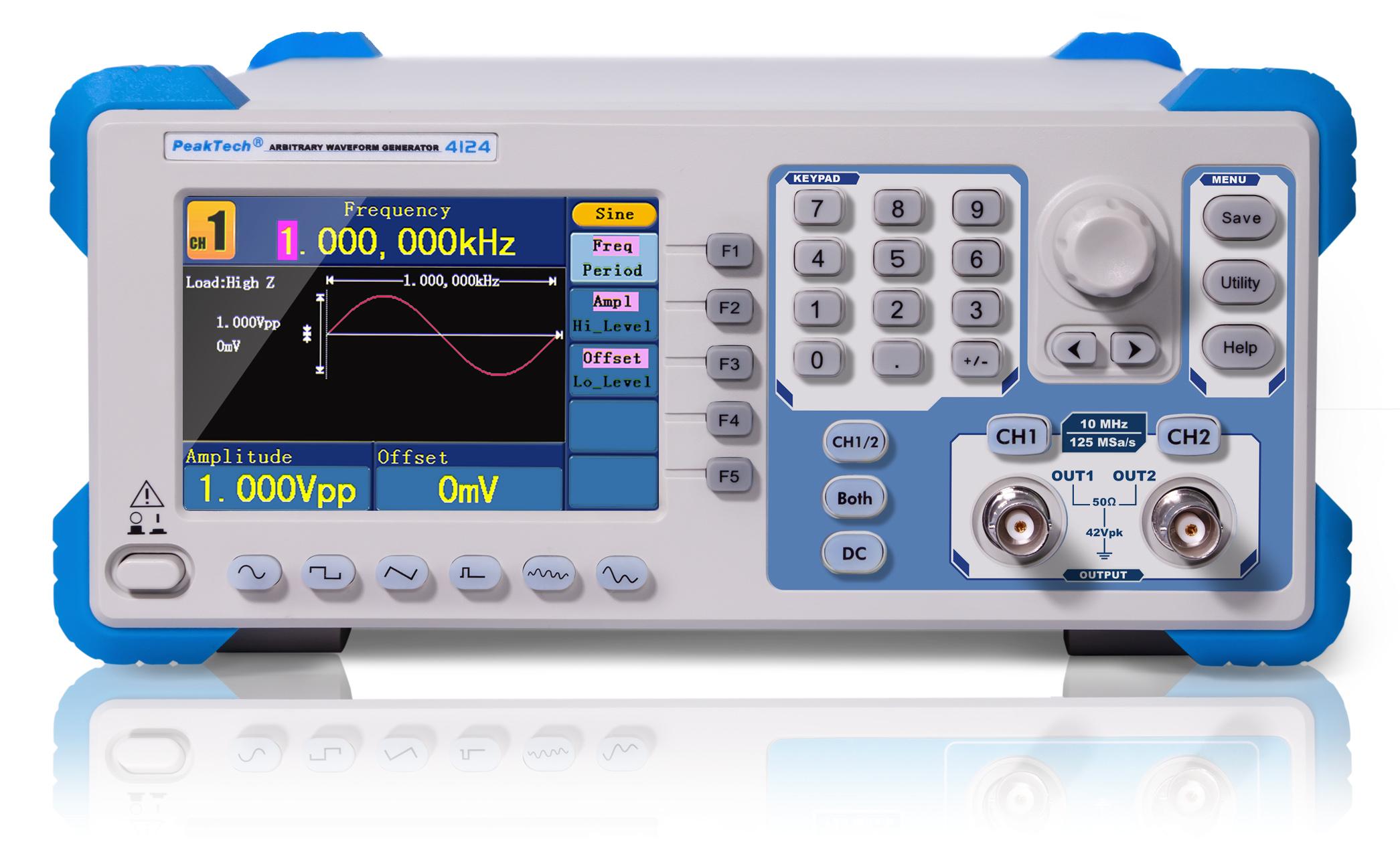 «PeakTech® P 4124» 2CH arbitrary function generator, 1 µHz – 10 MHz