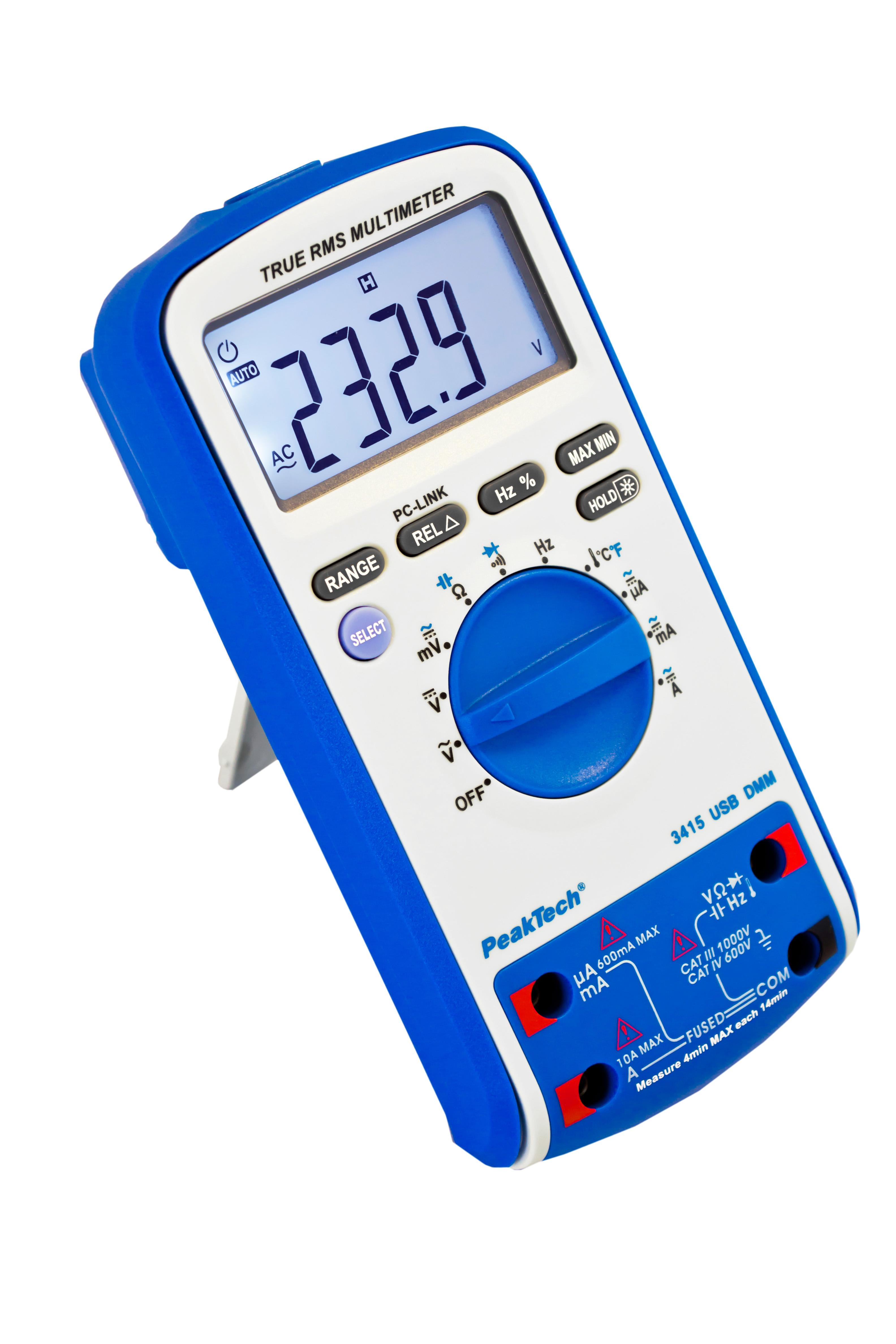 «PeakTech® P 3415» Digital multimeter, 6,000 counts, TrueRMS & USB